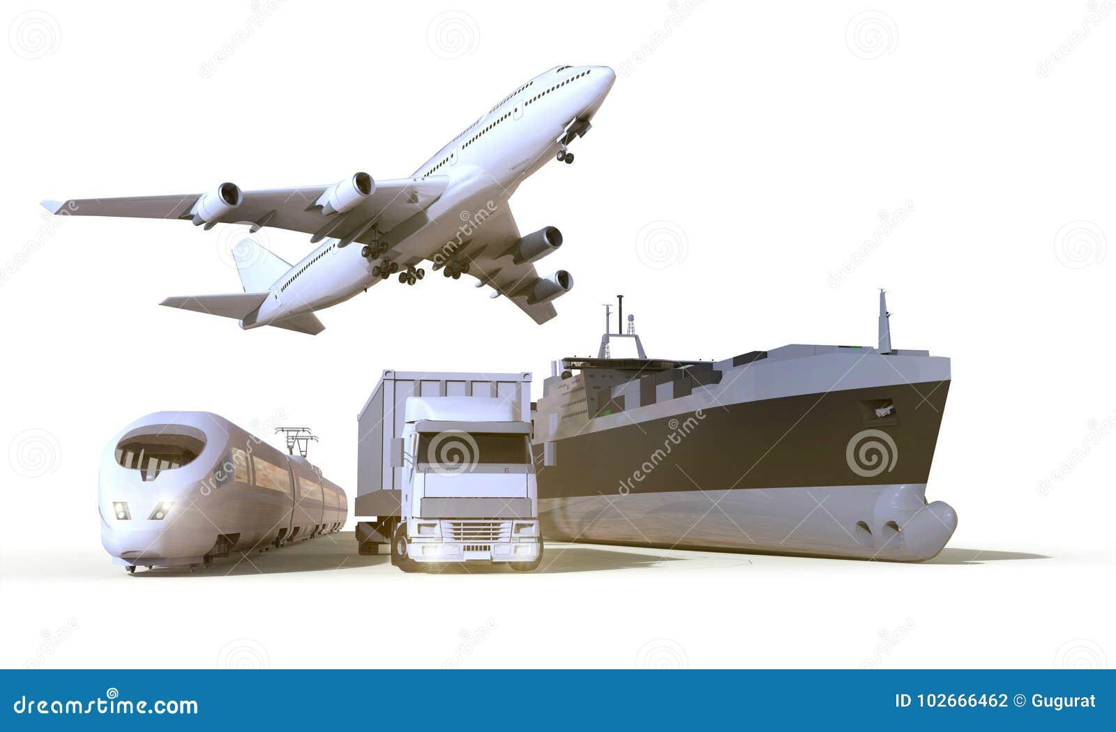 Le transport et la logistique troquent, s exercent, bateau et avion sur le fond d isolat