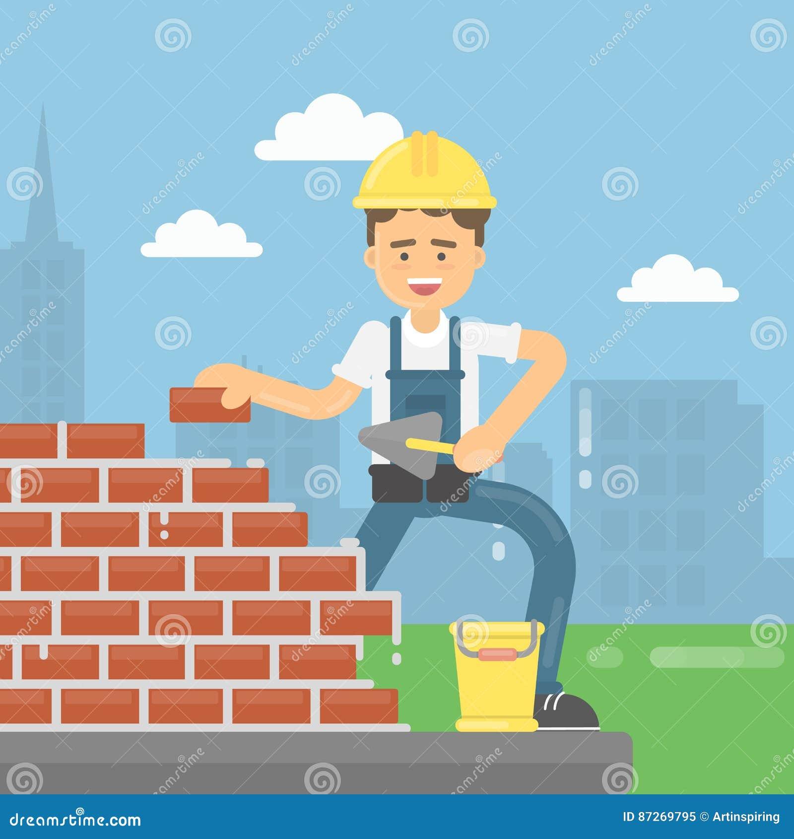 Le travailleur étend des briques