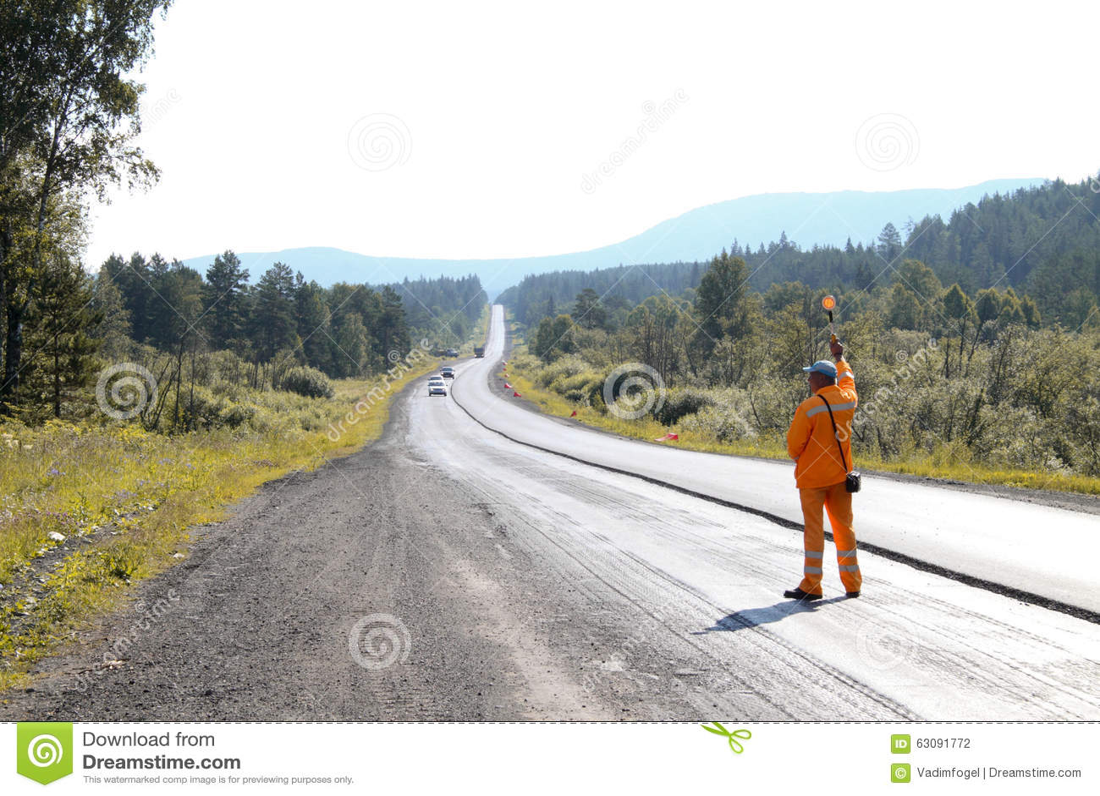 Download Le Travailleur De Route Arrête La Voiture Photographie éditorial - Image du construction, manuel: 63091772