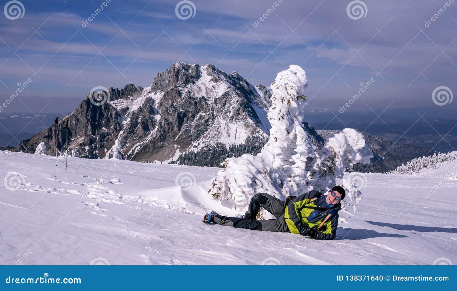 Le turisten som framme ligger av härligt djupfryst träd