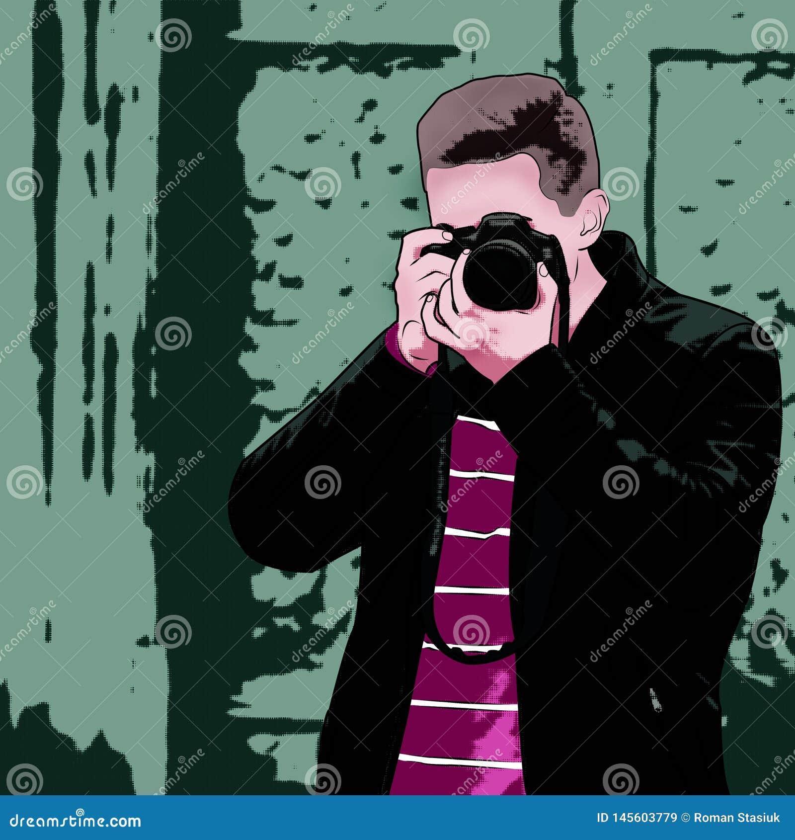 Le type avec l appareil-photo Illustration