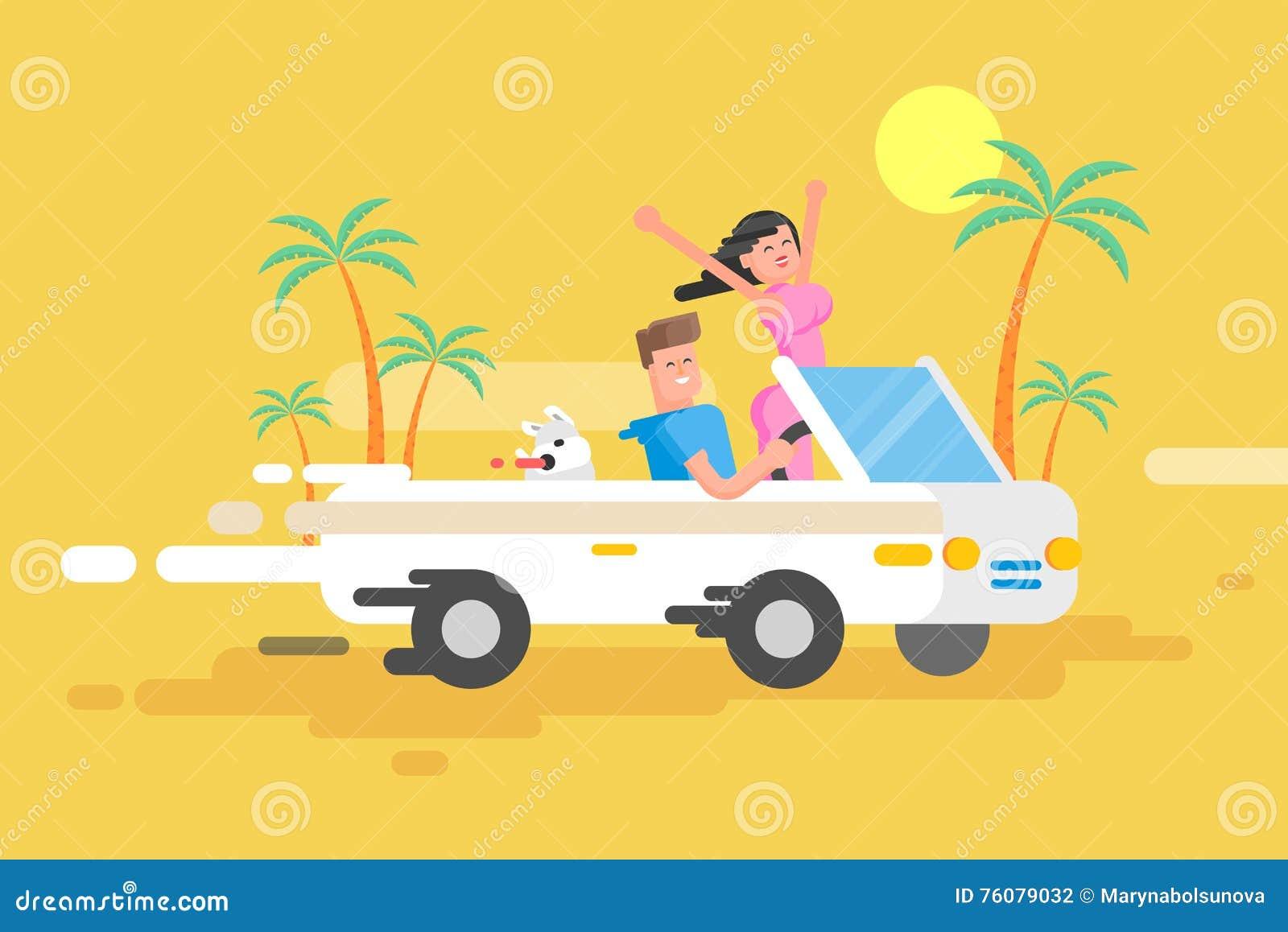 Le type heureux d illustration conduit le convertible blanc