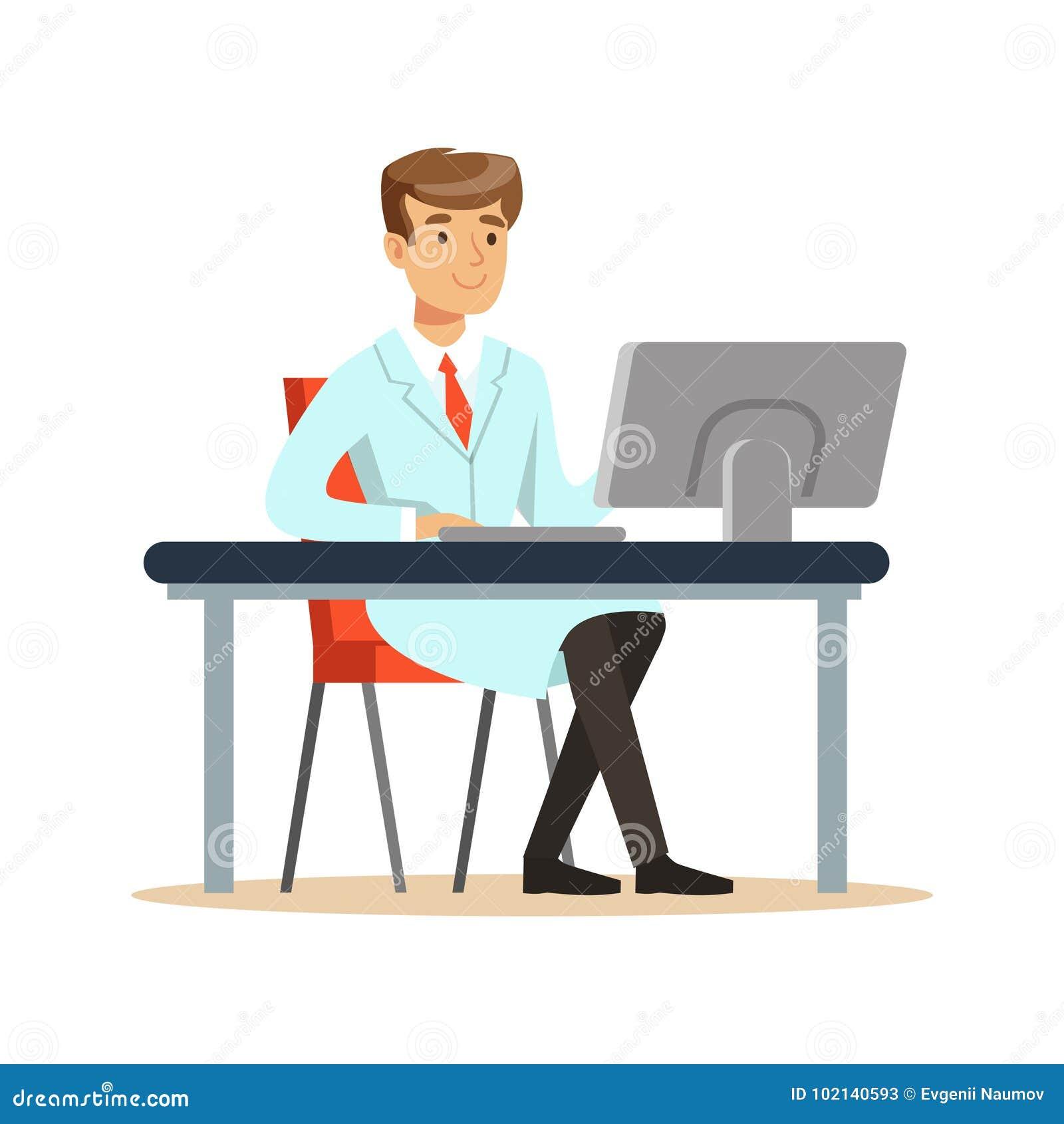 Le ung professor av datavetenskapsammanträde bak skrivbordet