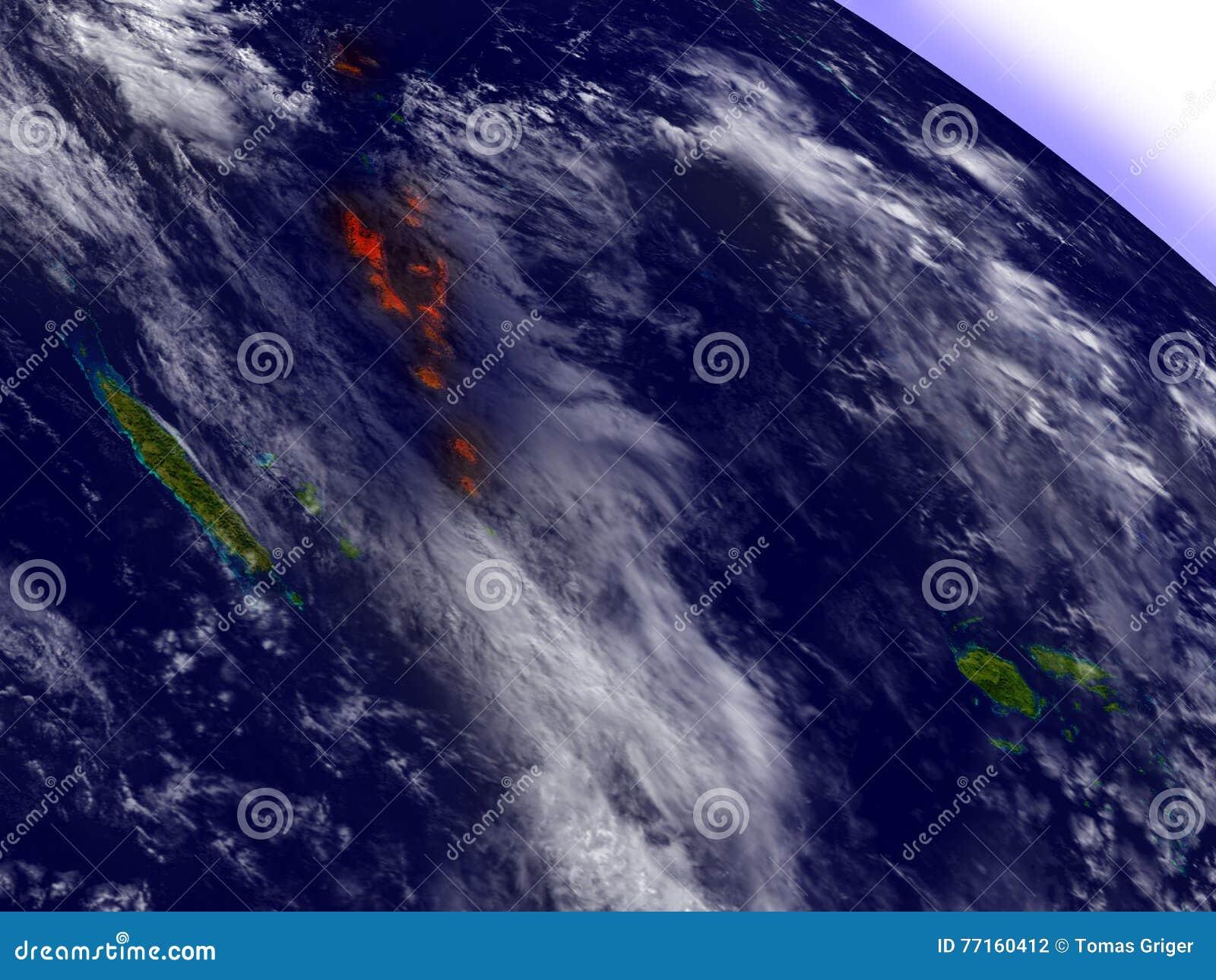 Le Vanuatu de l espace accentué en rouge
