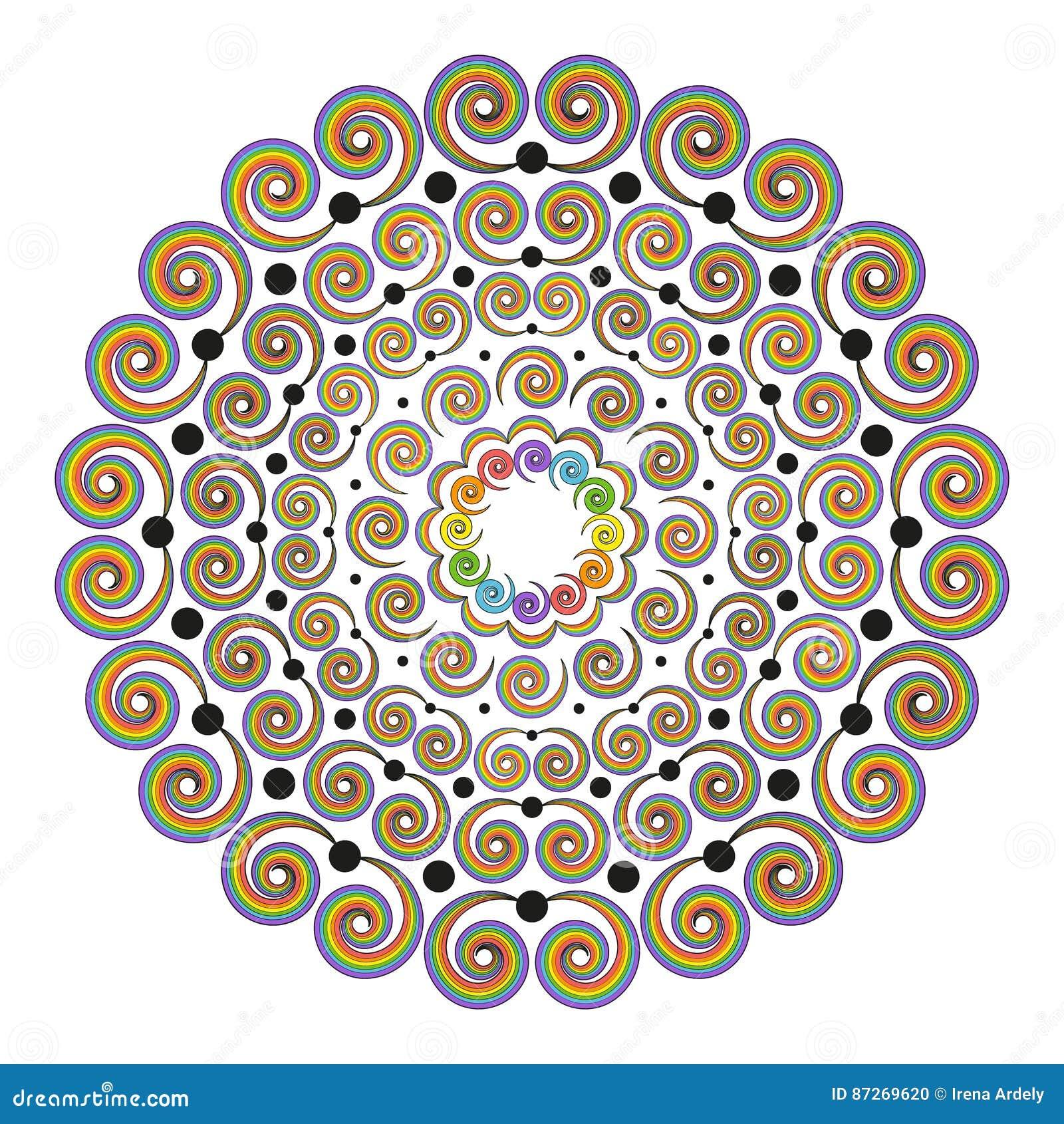 Coloriage Adulte Spirale.Le Vecteur A Colore Autour Des Spirales Bouclees De Mandala De