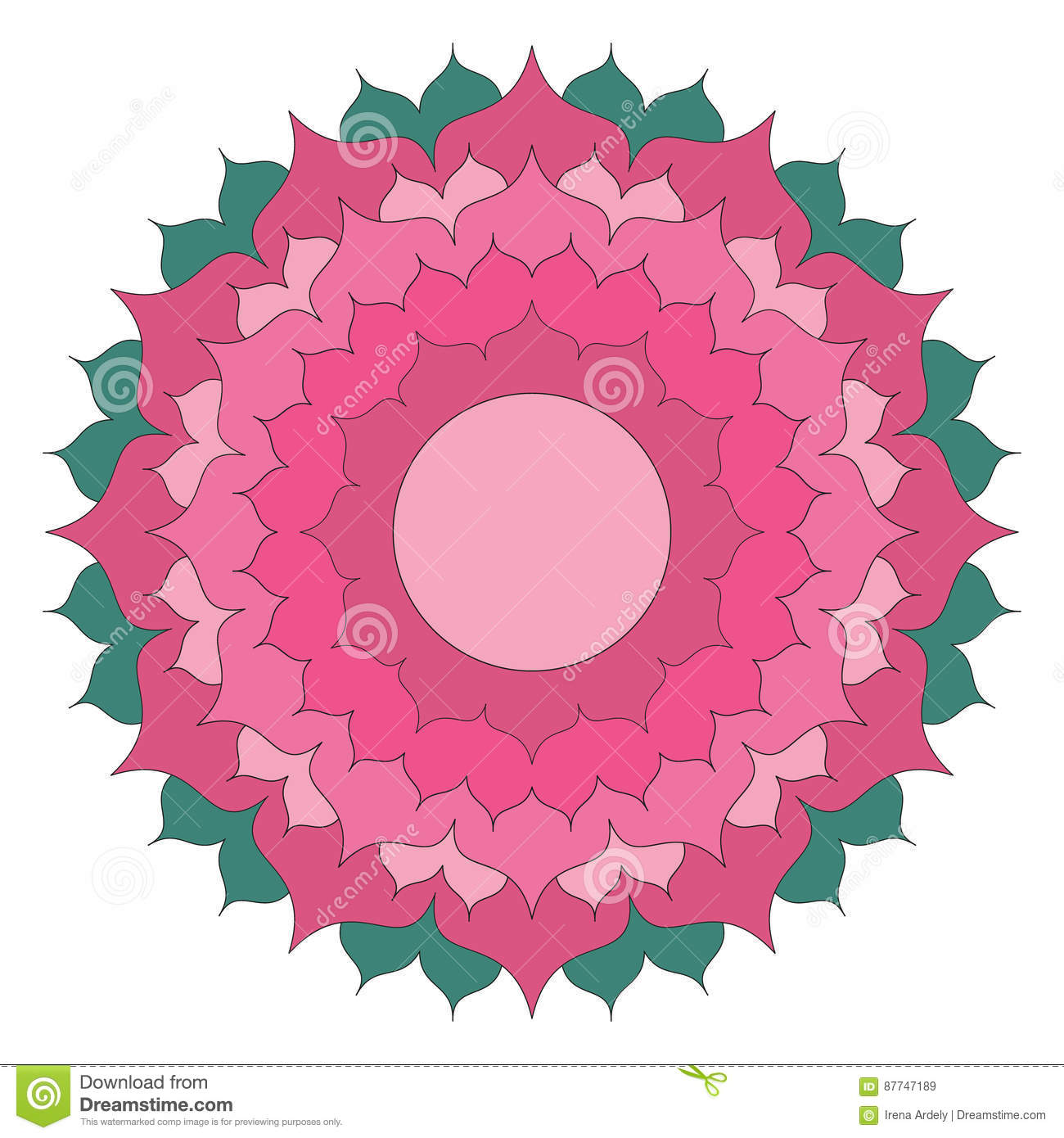 Le Vecteur A Coloré La Fleur De Lotus Simple De Mandala