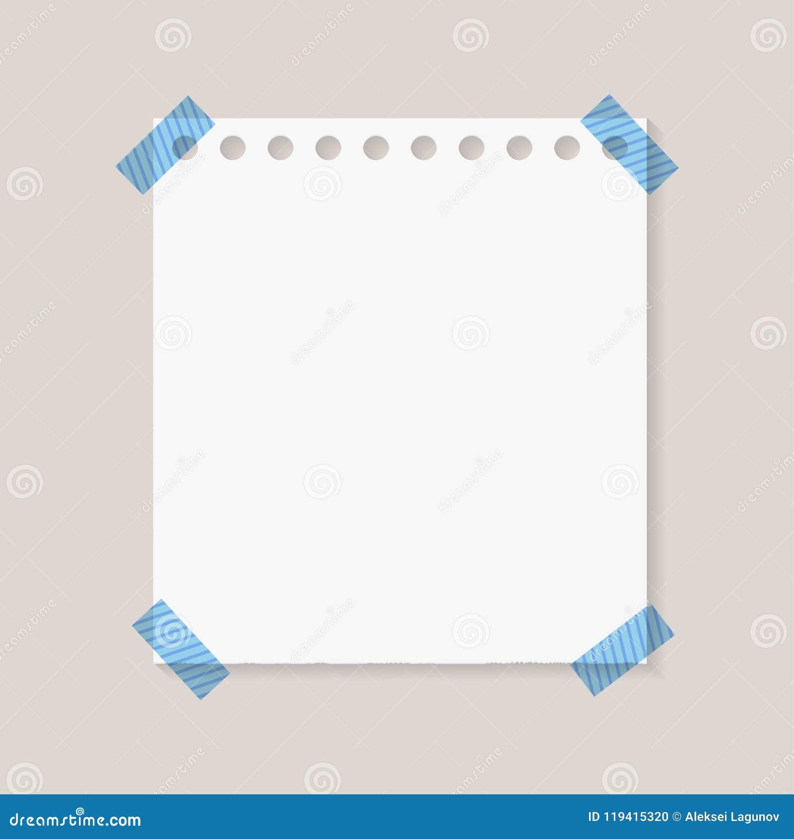Le vecteur a déchiré le papier de bord, autocollant de note, page attachée du ruban adhésif de carnet