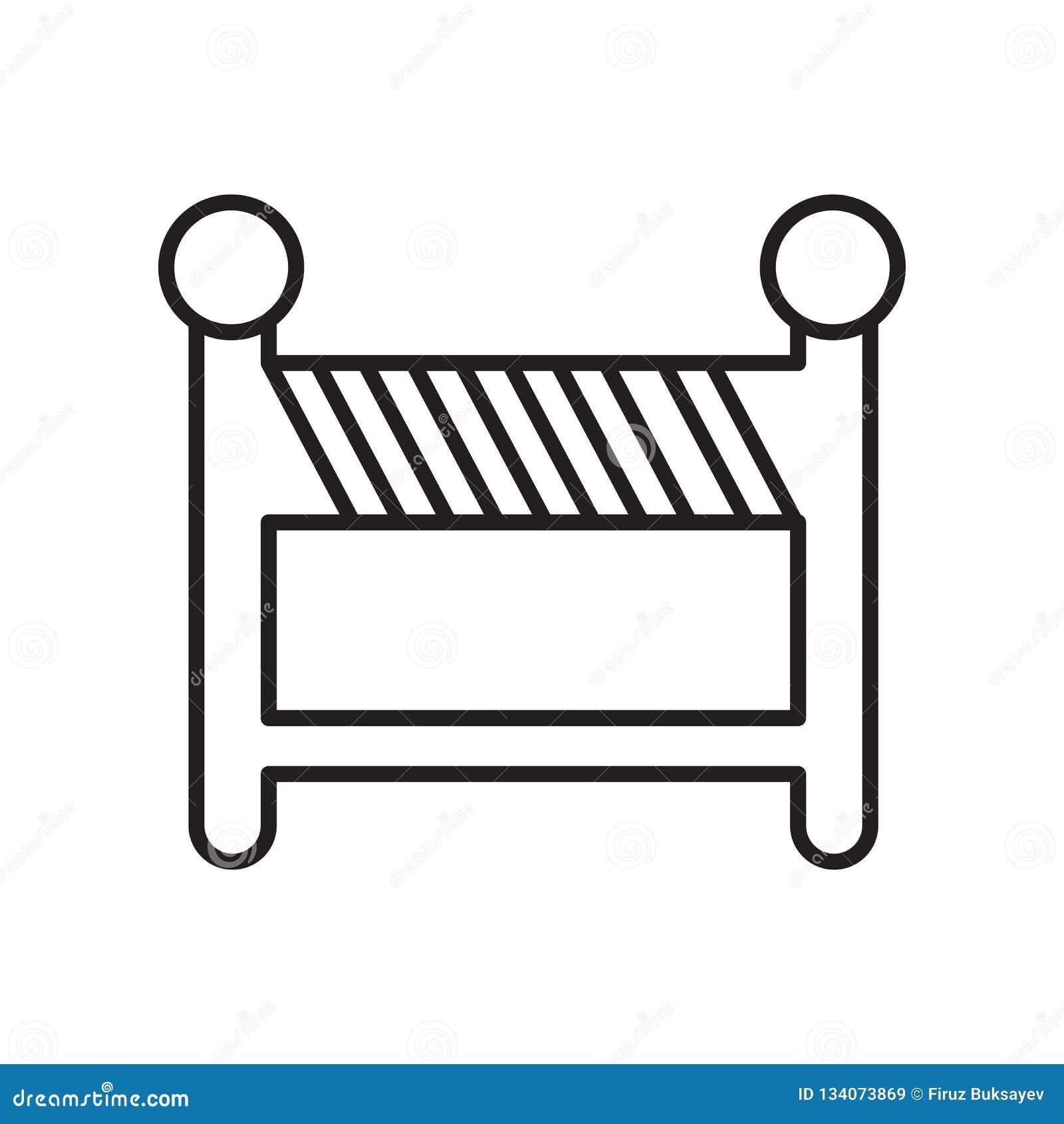 Le vecteur d icône de barricade d isolement sur le fond blanc, barricadent le signe, le signe et les symboles dans le style linéa