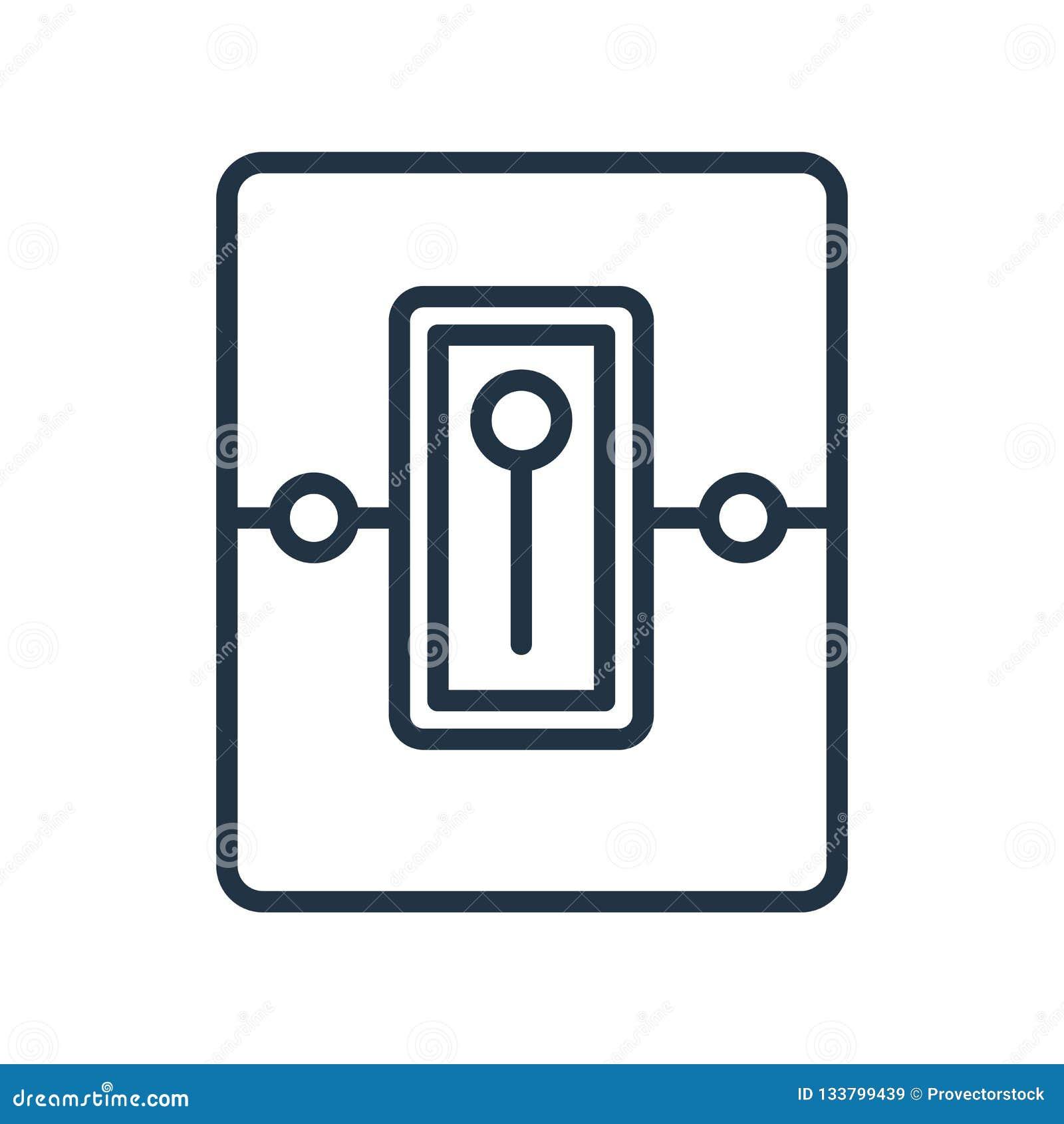 Le vecteur d icône de commutateurs d isolement sur le fond blanc, commute le signe