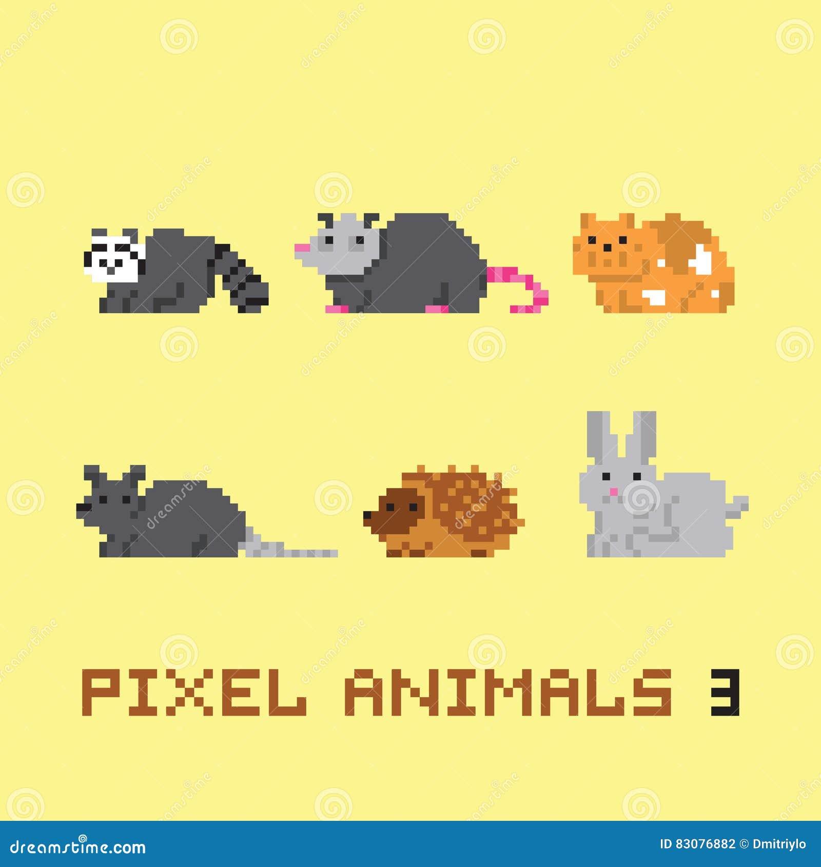 Le vecteur de bande dessinée d animaux de style d art de pixel a placé 3