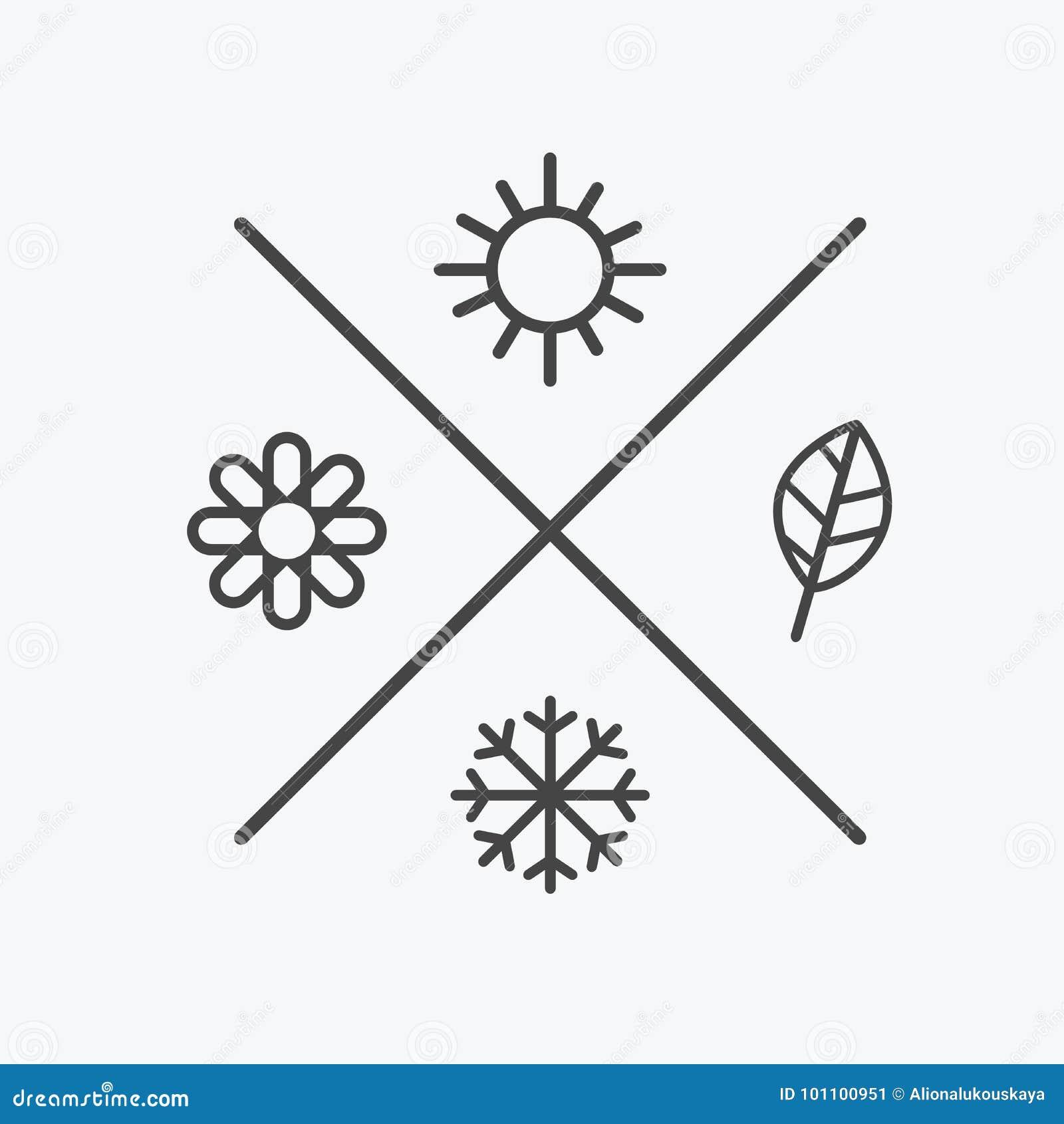 Le vecteur a placé quatre icônes de saisons l automne d été de ressort d hiver de saisons Style plat, lignes éléments simples wea