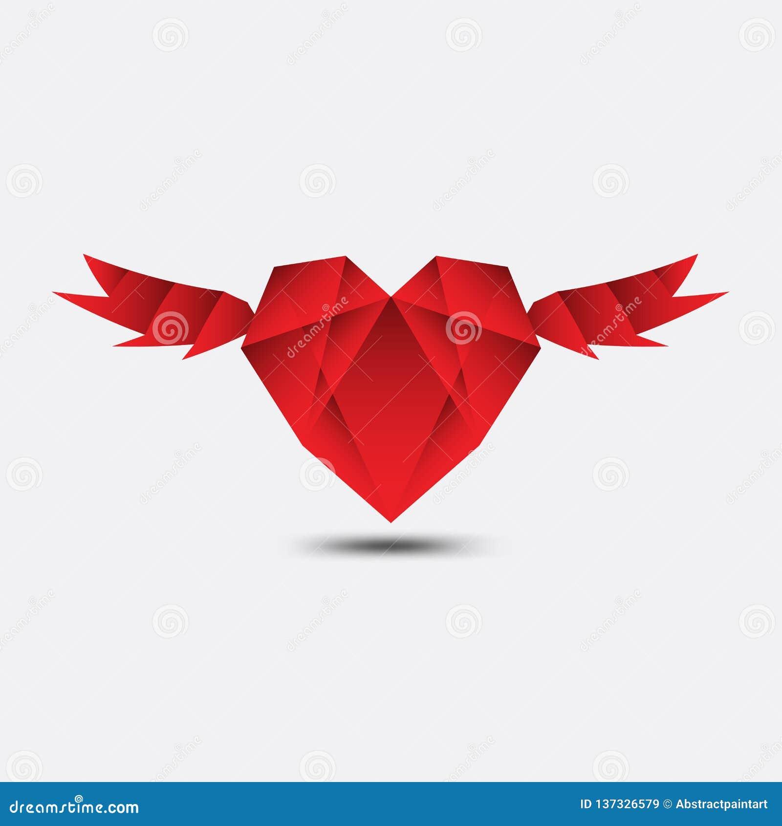 Le vecteur polygonal de coeur rouge, l icône de coeur, le logo, l icône plate pour des applis et le site Web, aiment le signe, sy