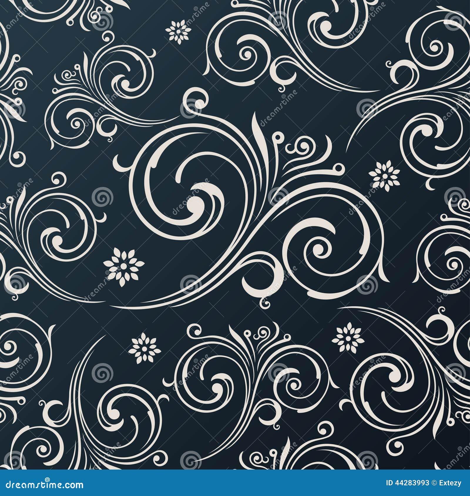 le vecteur sans joint fleurit le papier peint fond noir de cru illustration de vecteur image. Black Bedroom Furniture Sets. Home Design Ideas