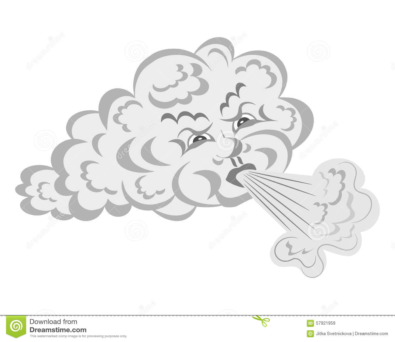 Le vent souffle du nuage illustration de vecteur - Nuage et vent ...