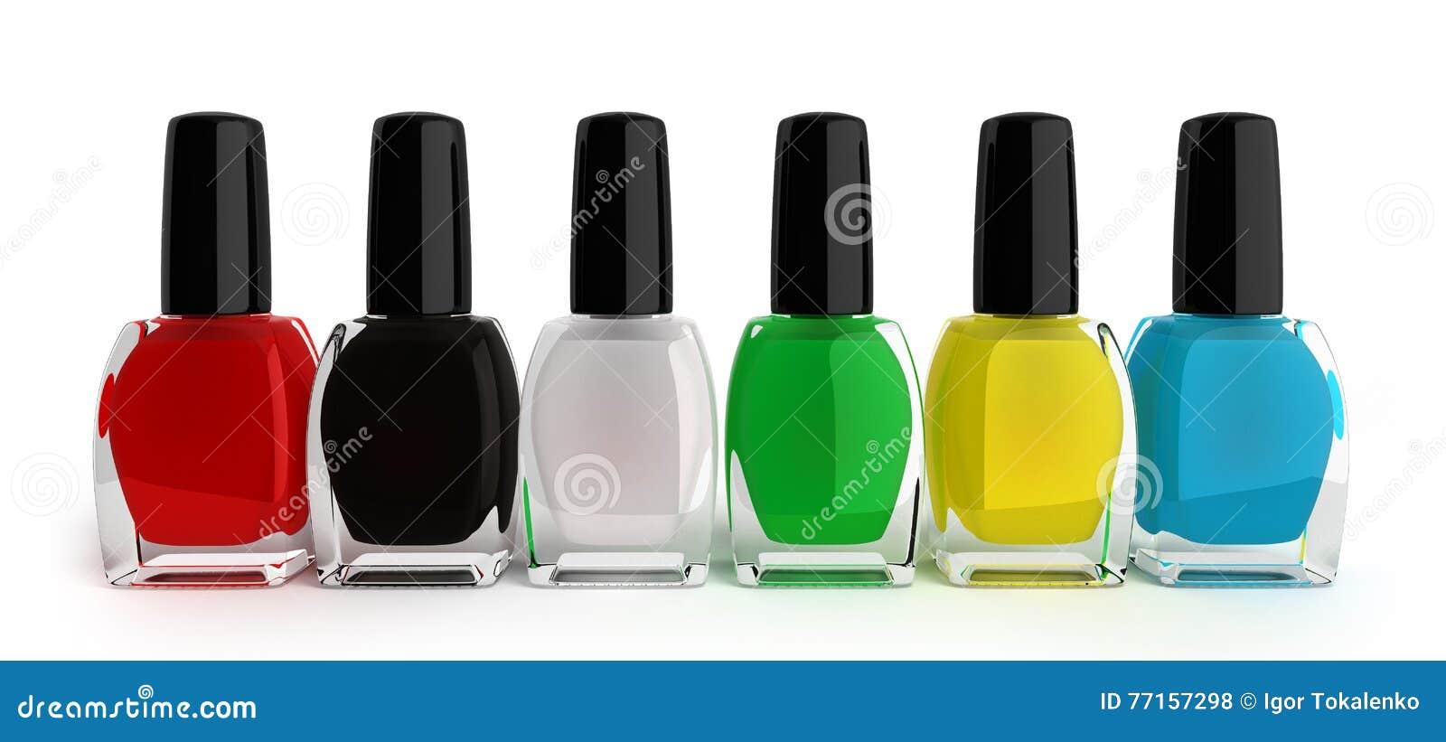 Le vernis à ongles coloré 3d rendent sur le fond blanc