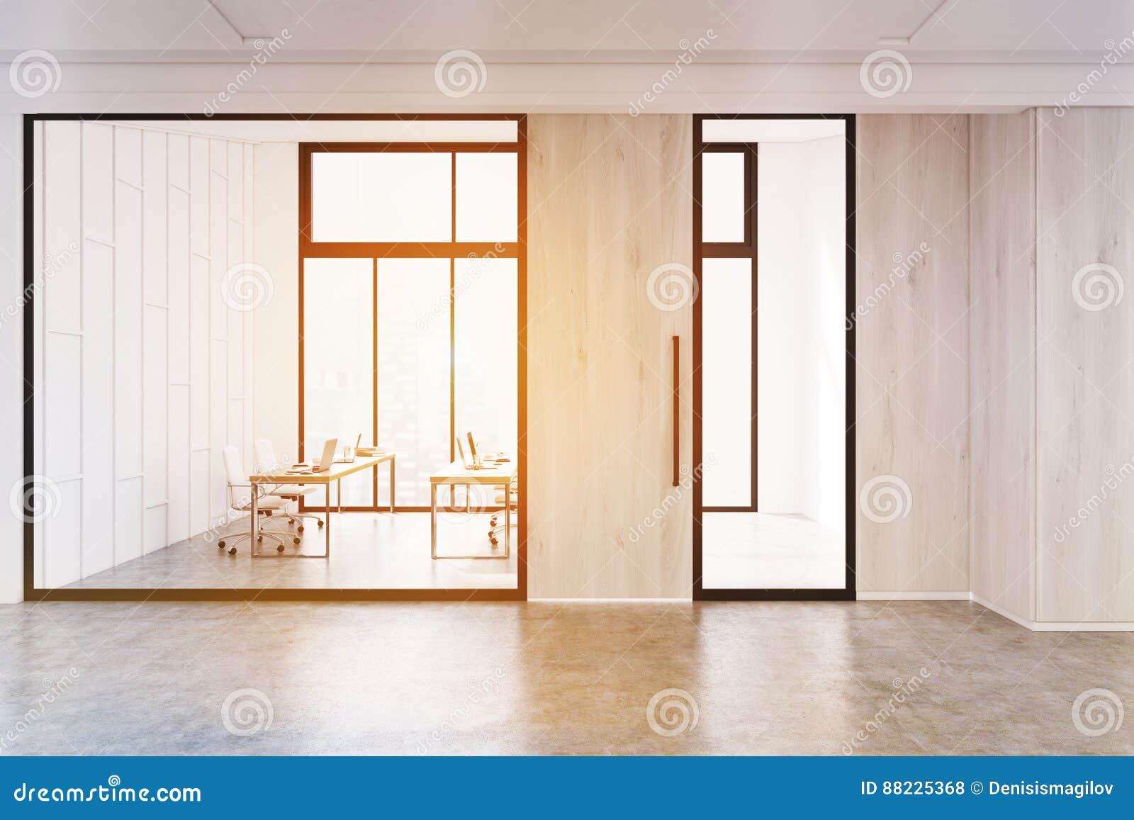 Le verre et le bureau en bois gris de murs incitent modifié la