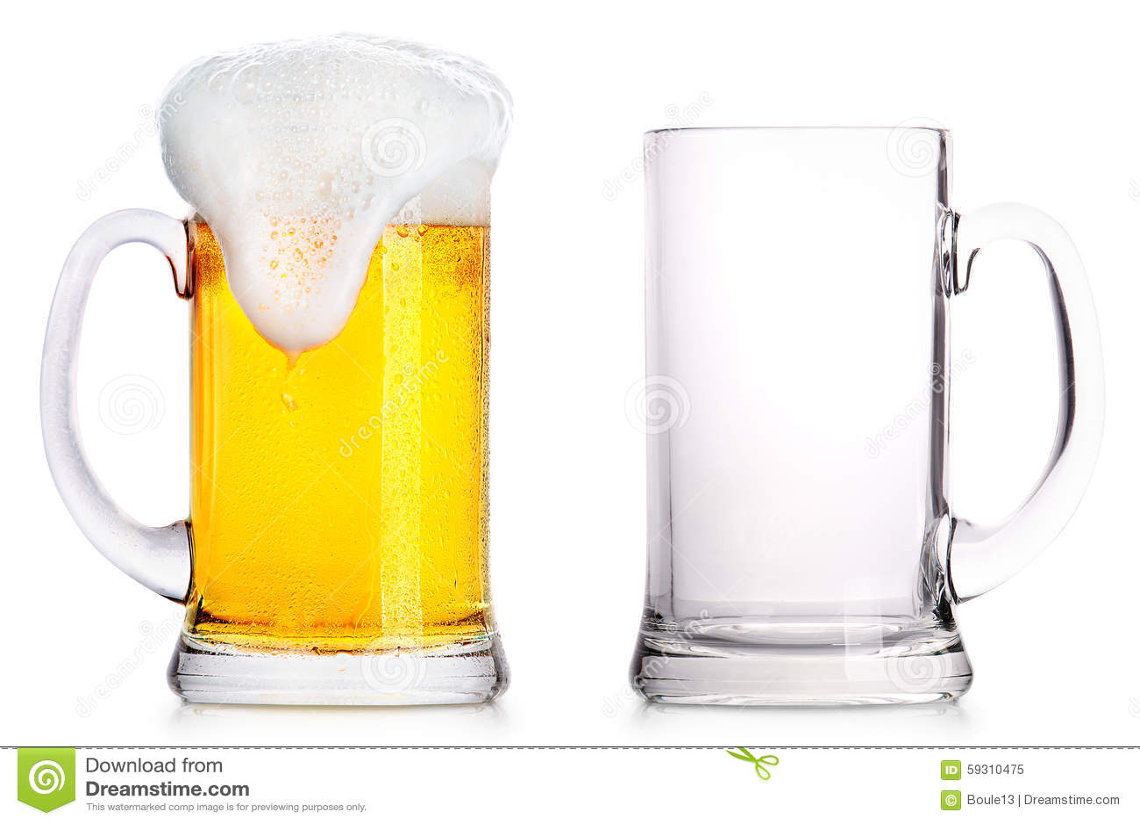 Le verre givré de bière blonde et vident un