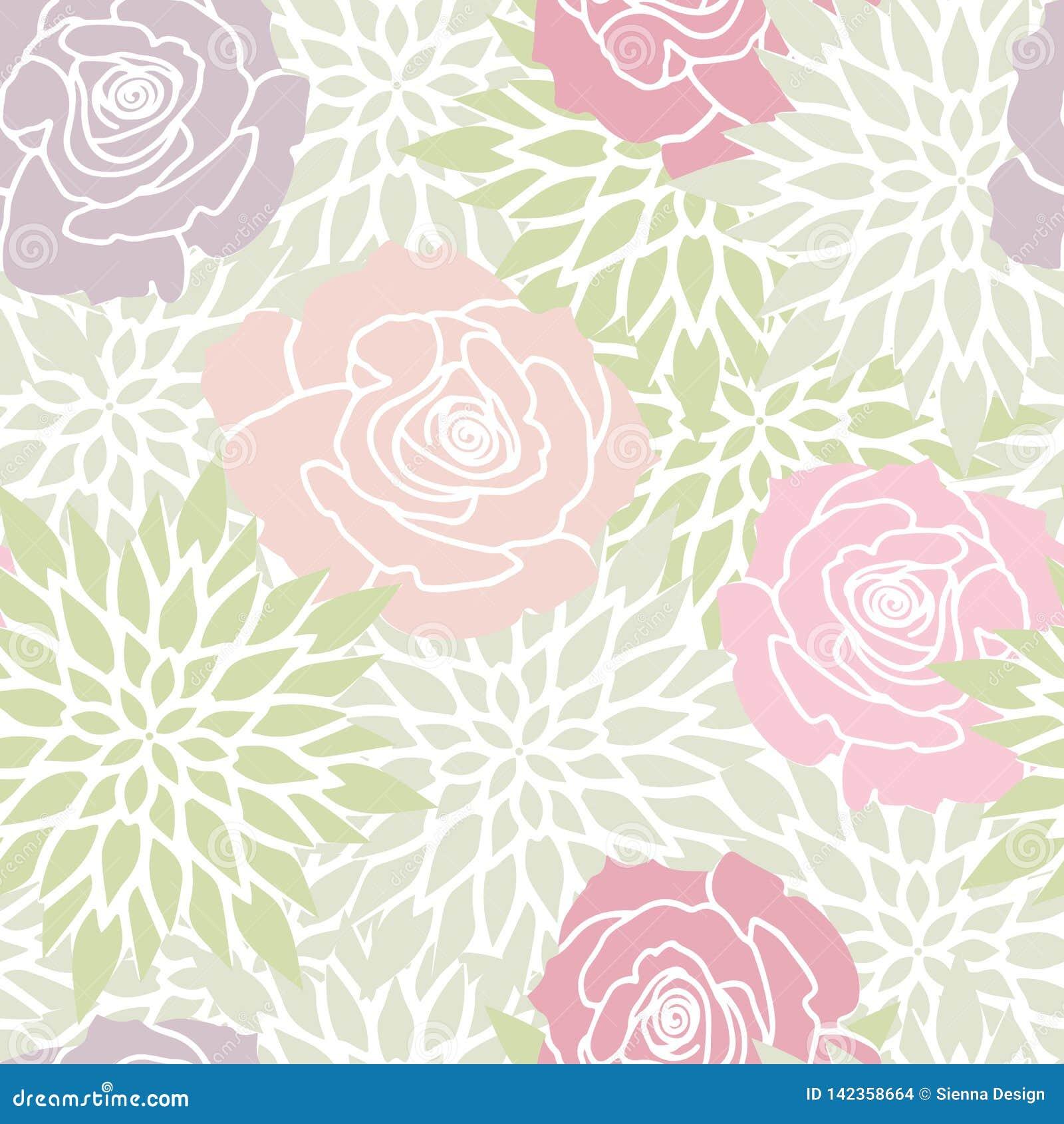 Le vert rougissent rose Rose Floral Seamless Pattern