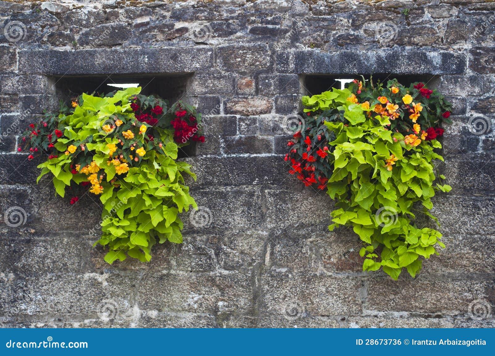 le vieux mur en pierre a orn avec les fleurs rouges et jaunes image libre de droits image. Black Bedroom Furniture Sets. Home Design Ideas