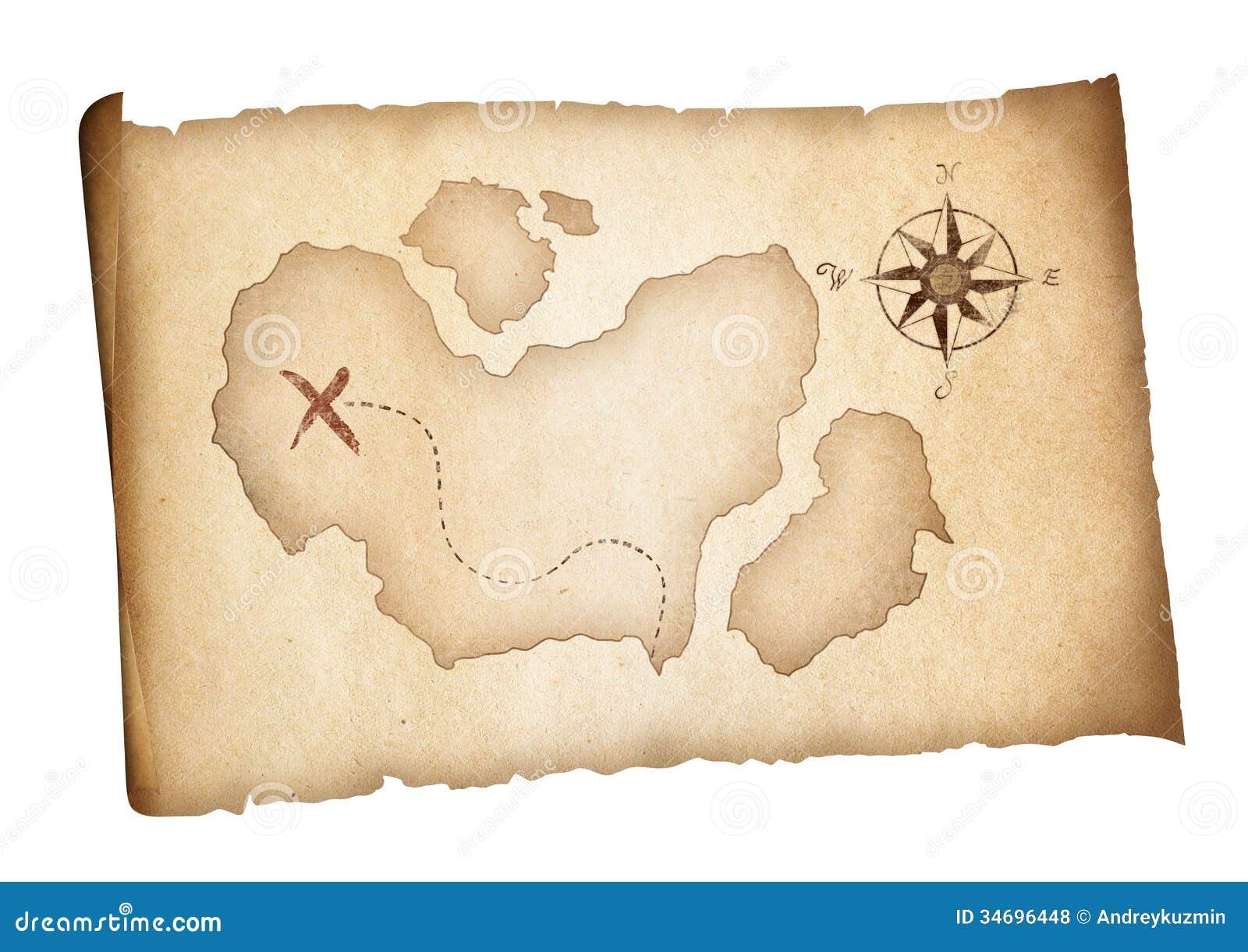 Le vieux trésor pirate la carte d isolement. Concept d aventure.