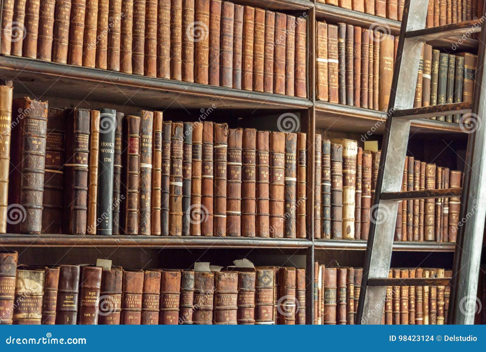 Echelle Bibliotheque Sur Rail le vieux vintage réserve sur l'étagère et l'échelle en bois