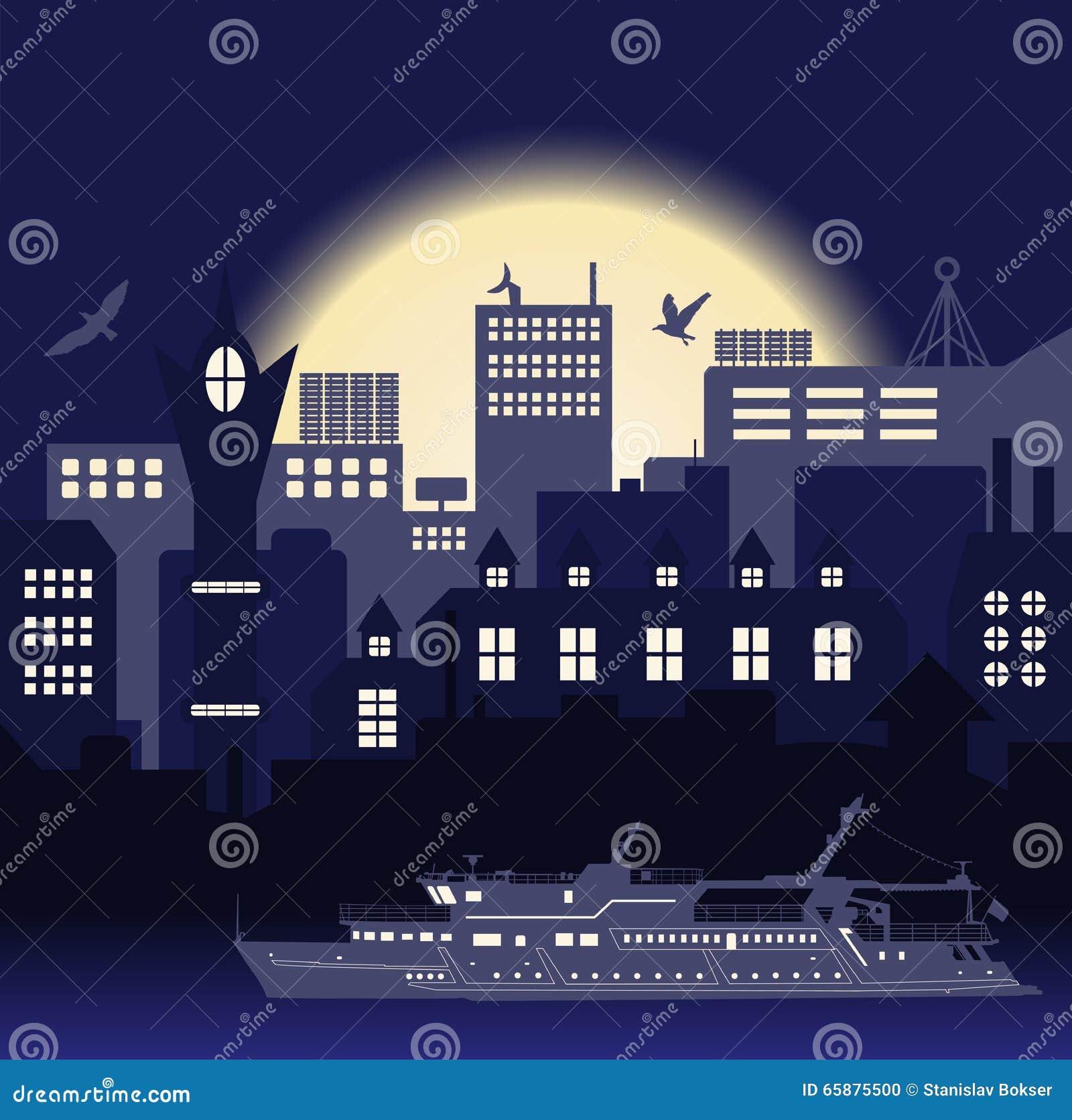 Le vintage européen industriel a dénommé la ville, le bateau de voyage et les mouettes sur le fond bleu lumineux de coucher du so