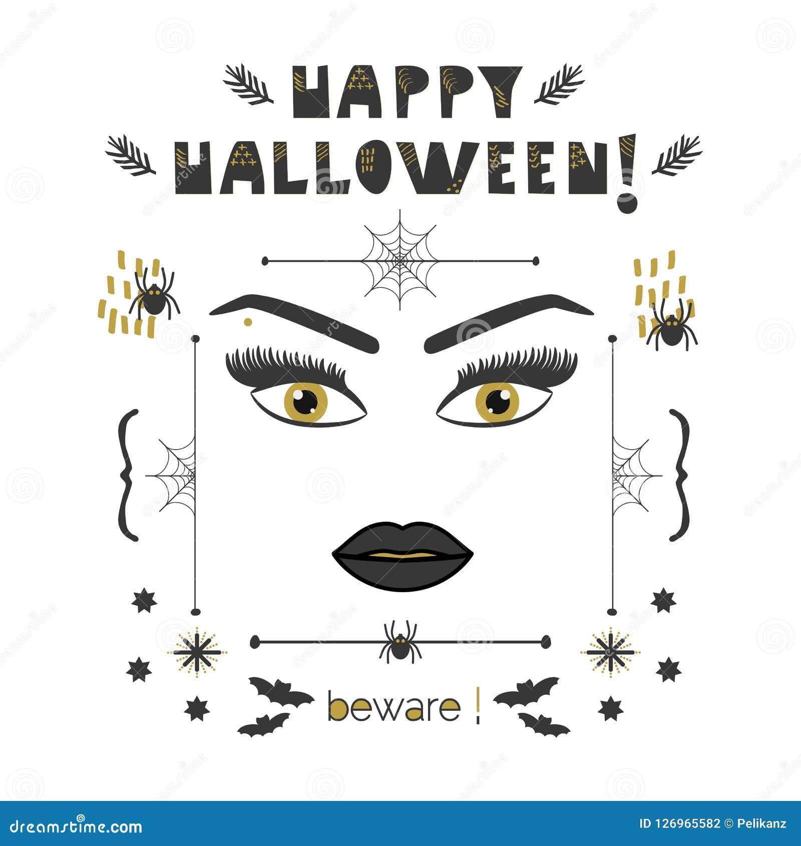 Le visage abstrait de femme avec les yeux d or et les longues mèches et les sourcils Halloween heureux prennent garde de la carte