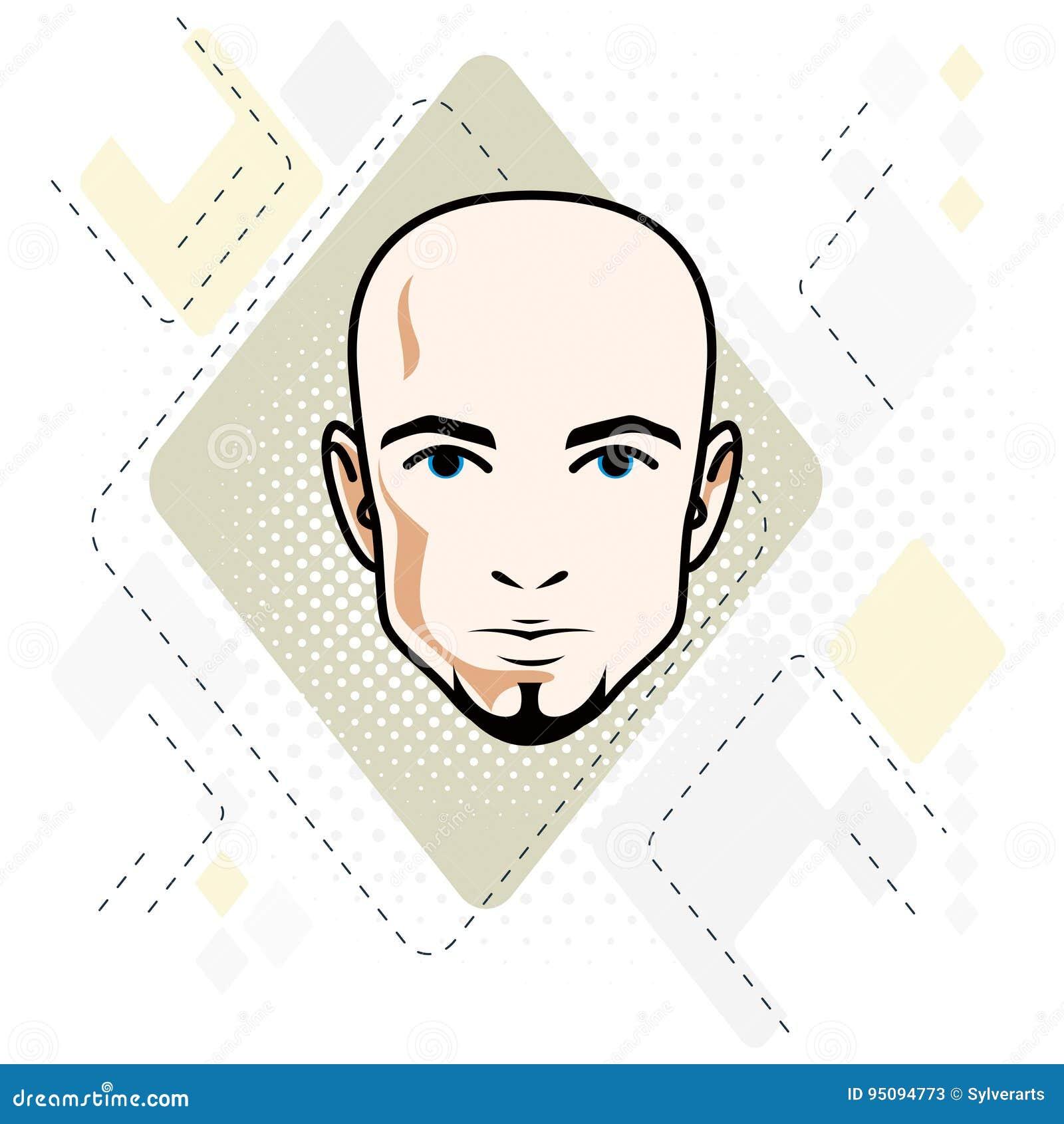 Le visage caucasien d homme, dirigent l illustration de tête humaine H attrayant