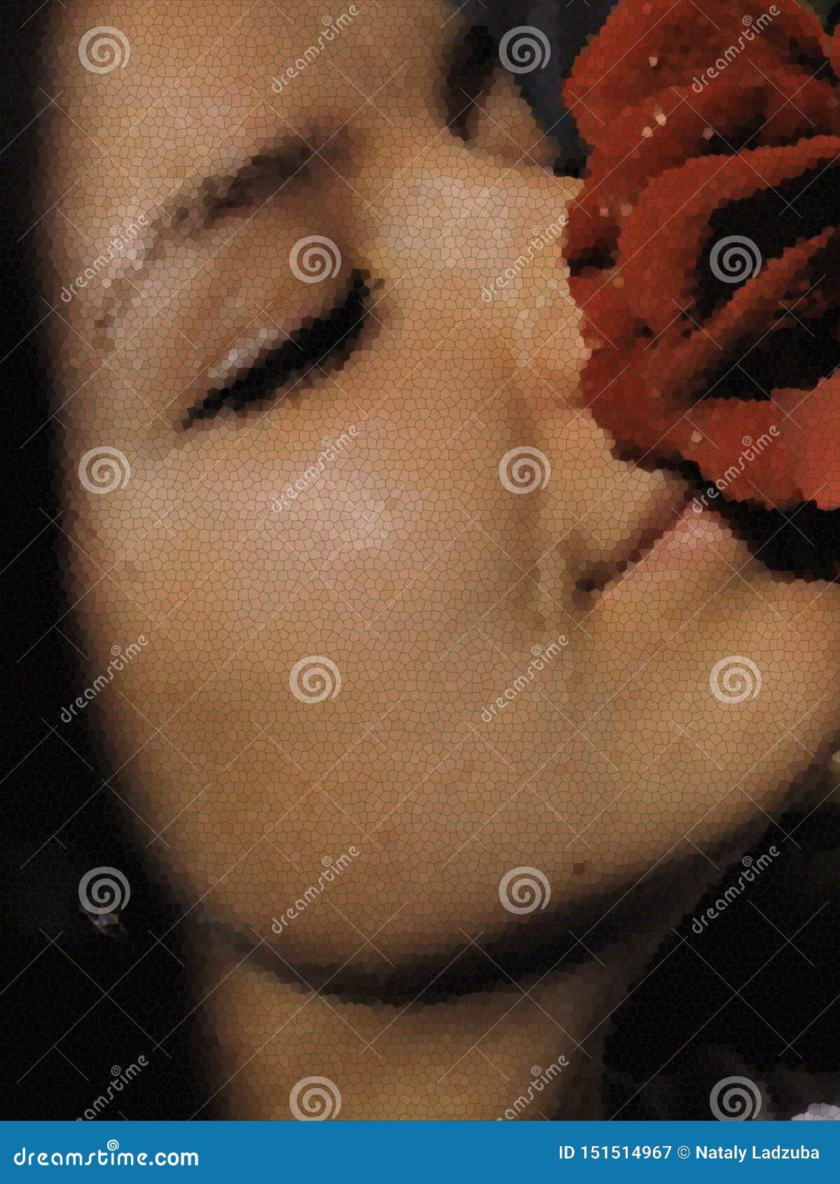 Le visage d une jeune fille dans le profil avec une rose rouge a souillé l effet en verre