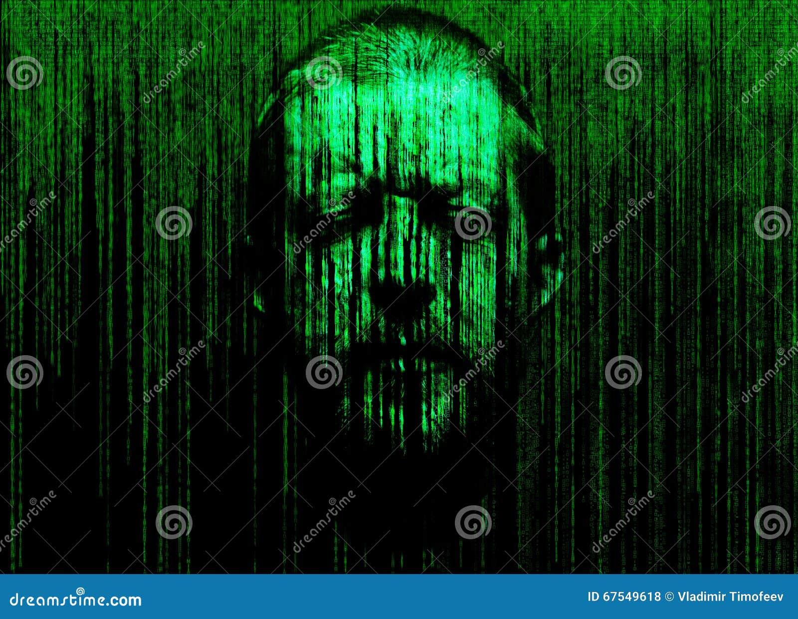 Le visage de l homme avec des yeux s est fermé, immergé dans une matrice de code binaire
