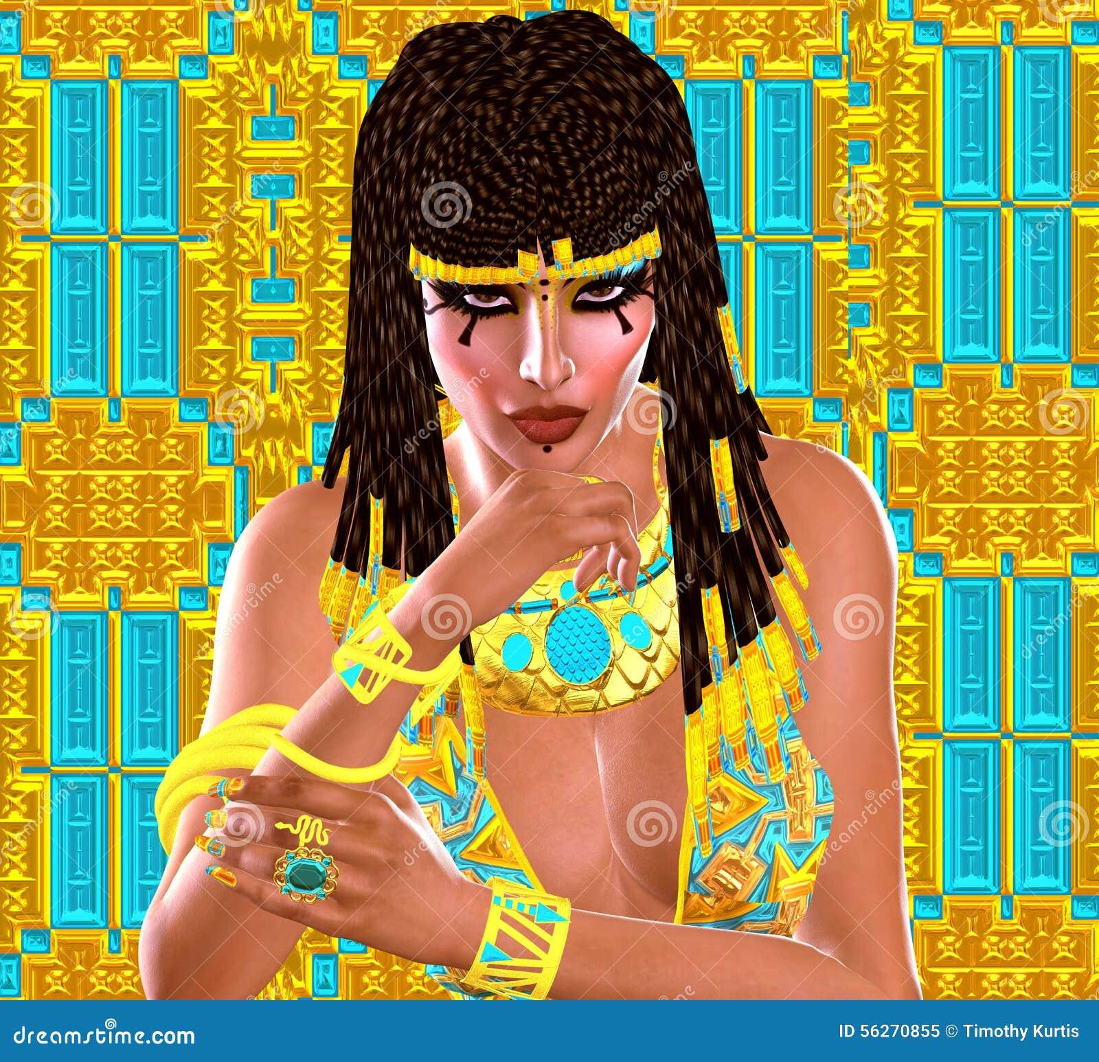 Le visage et la coiffure tressée de la femme égyptienne, se ferment, scène  numérique