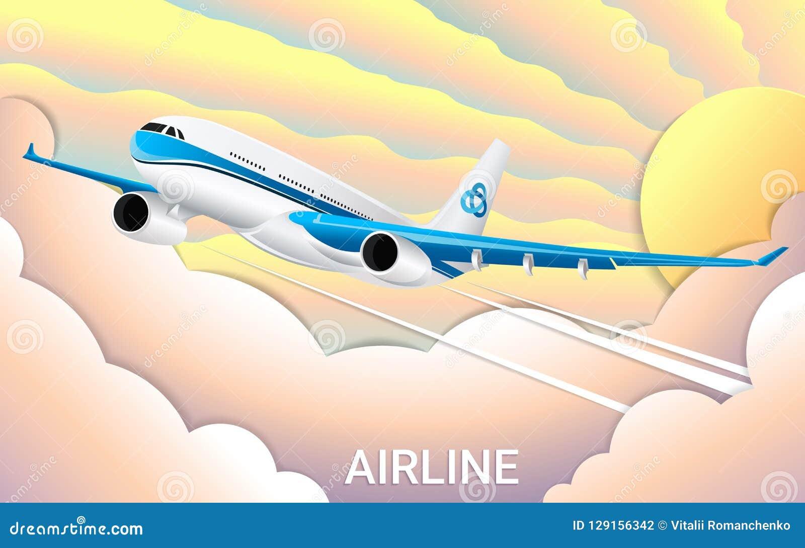 Le vol d un avion de passager Papier coupé Gradients à la mode de couleur Voyage