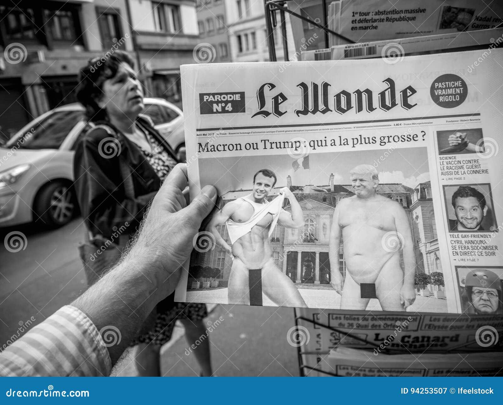 Le Wonde Donald Trump And Emmanuel Macron Naked In Le Wonde Editorial Photography Image Of Emmanuel Assembly 94253507