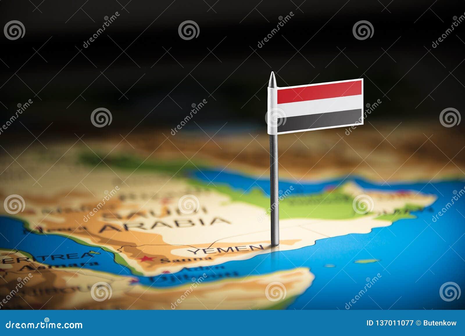 Le Yéménite a identifié par un drapeau sur la carte