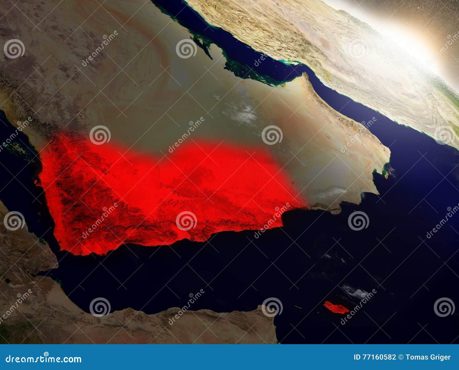 Le Yémen de l espace accentué en rouge