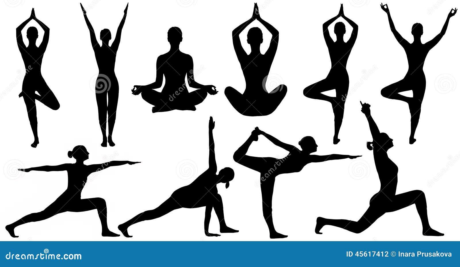 Le Yoga Pose La Silhouette De Femme D Isolement Au Dessus