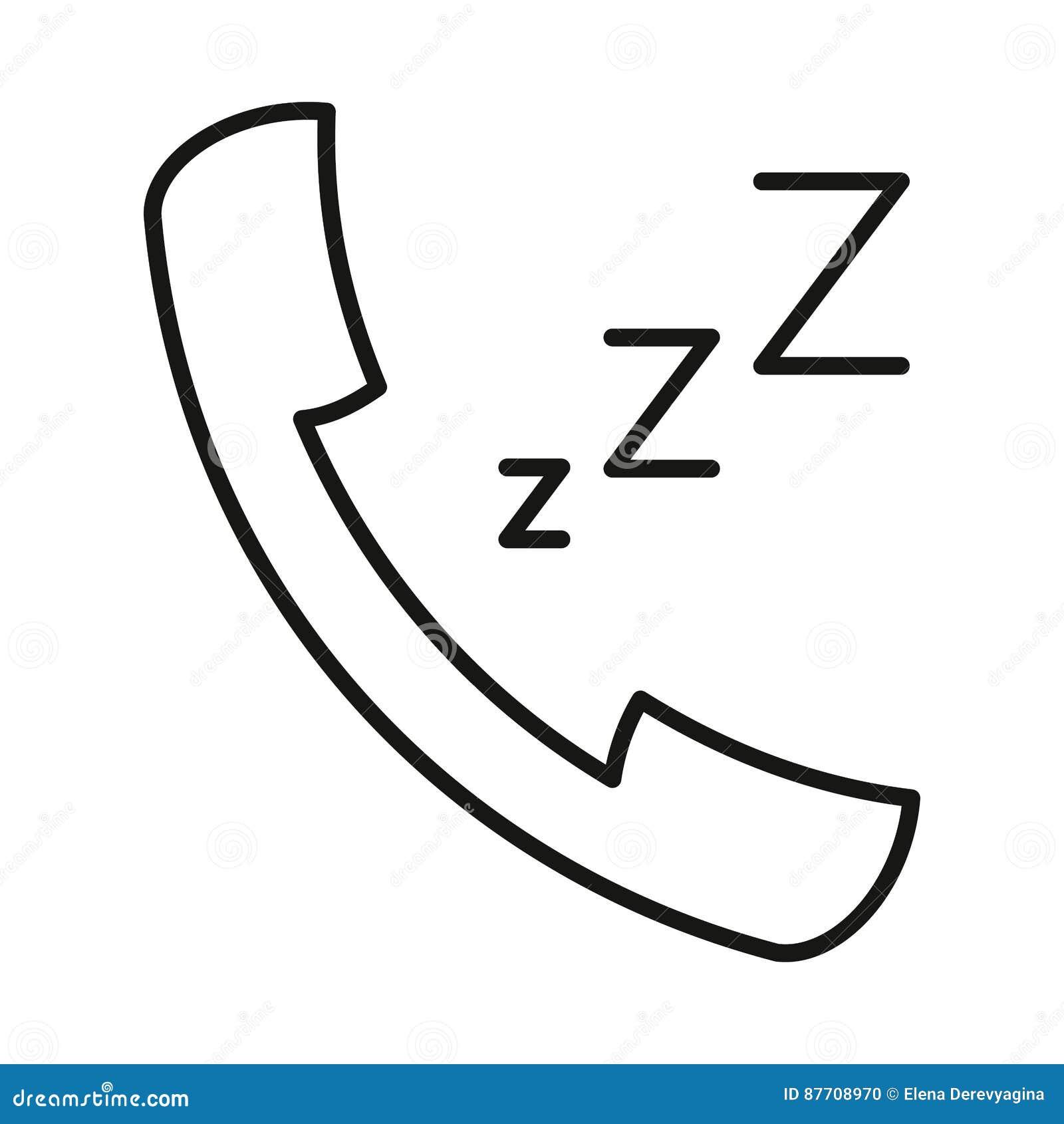 Le z-z-z de sonnerie d icône a fixé la découpe à la main noire sur le fond blanc de l illustration