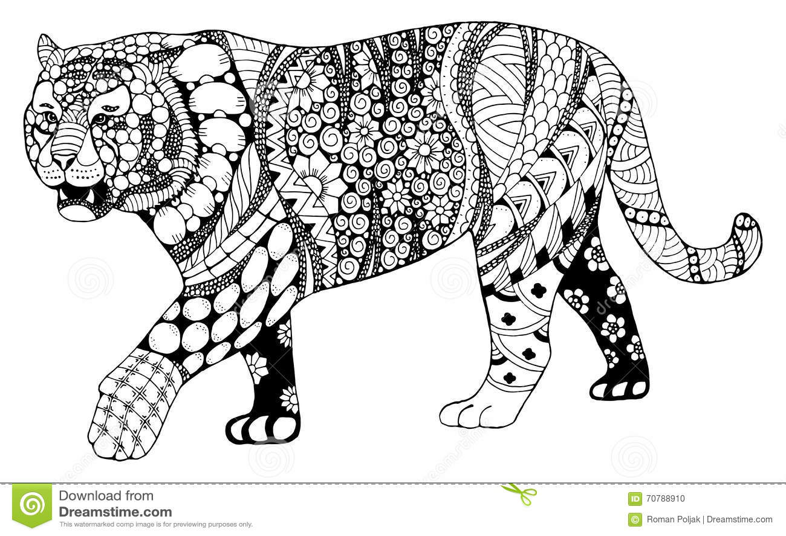 Le zentangle chinois de signe de zodiaque de tigre a stylisé, dirige, illustrati