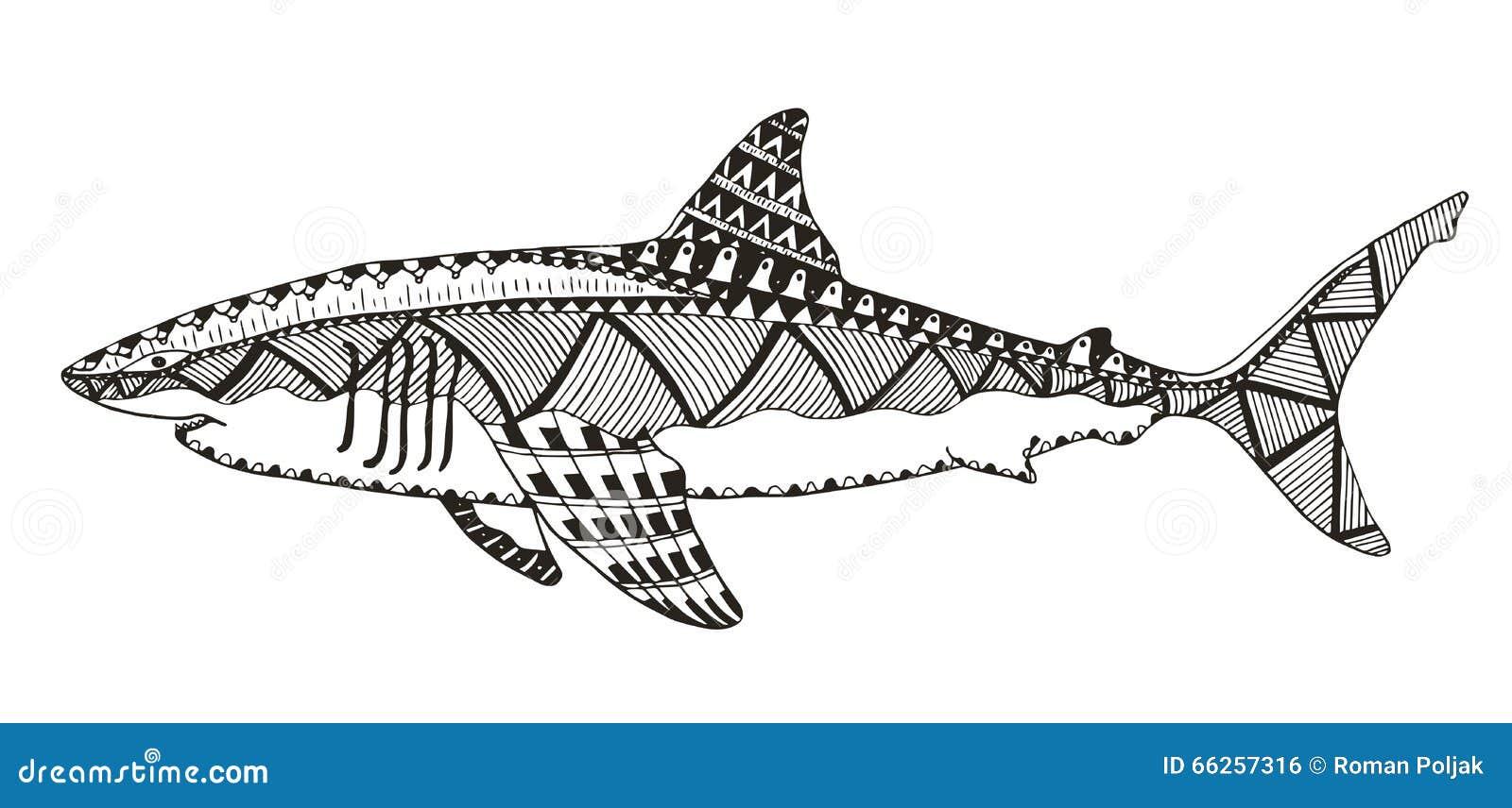 Le zentangle de requin a stylis dirige illustration - Modele dessin requin ...