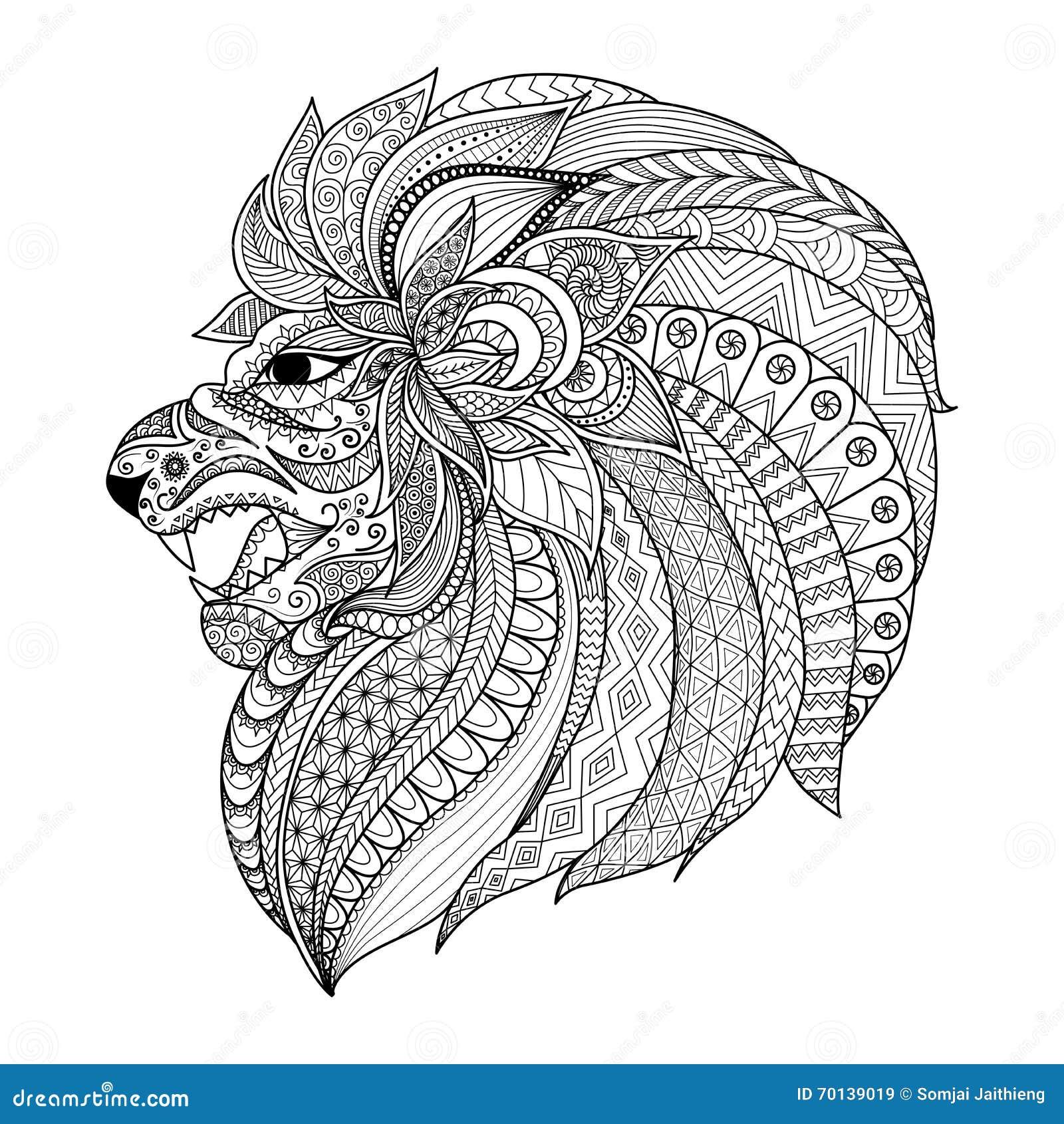 Le zentangle d 233 taill 233 a stylis 233 le lion pour le graphique de t