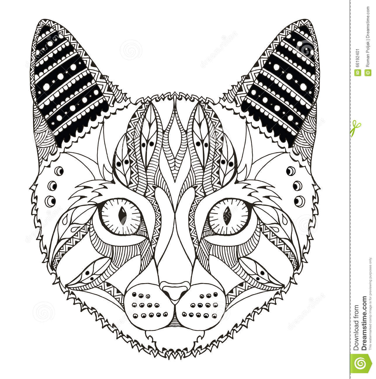 Le Zentangle Principal De Chat A Stylise Dirige Illustration