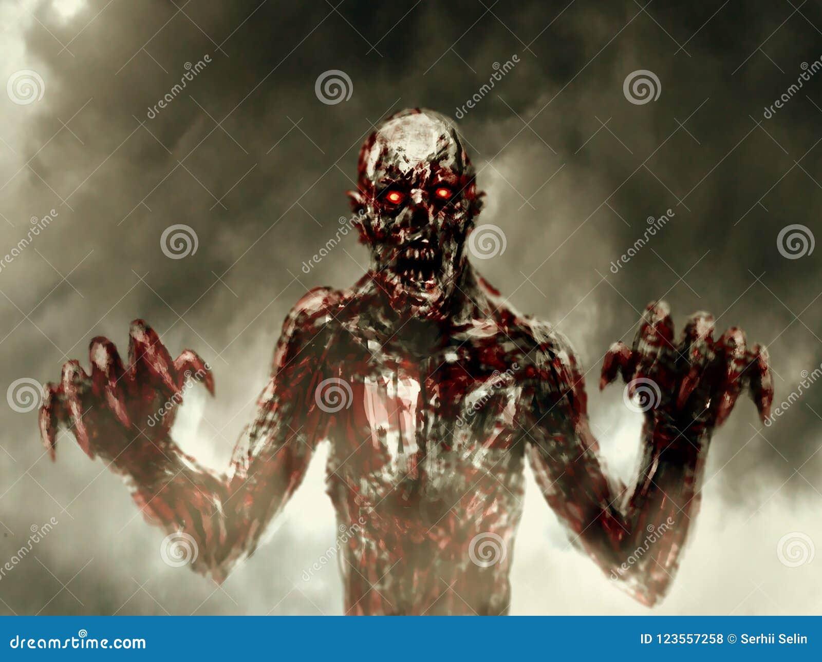 Le zombi ensanglanté foncé étire ses mains