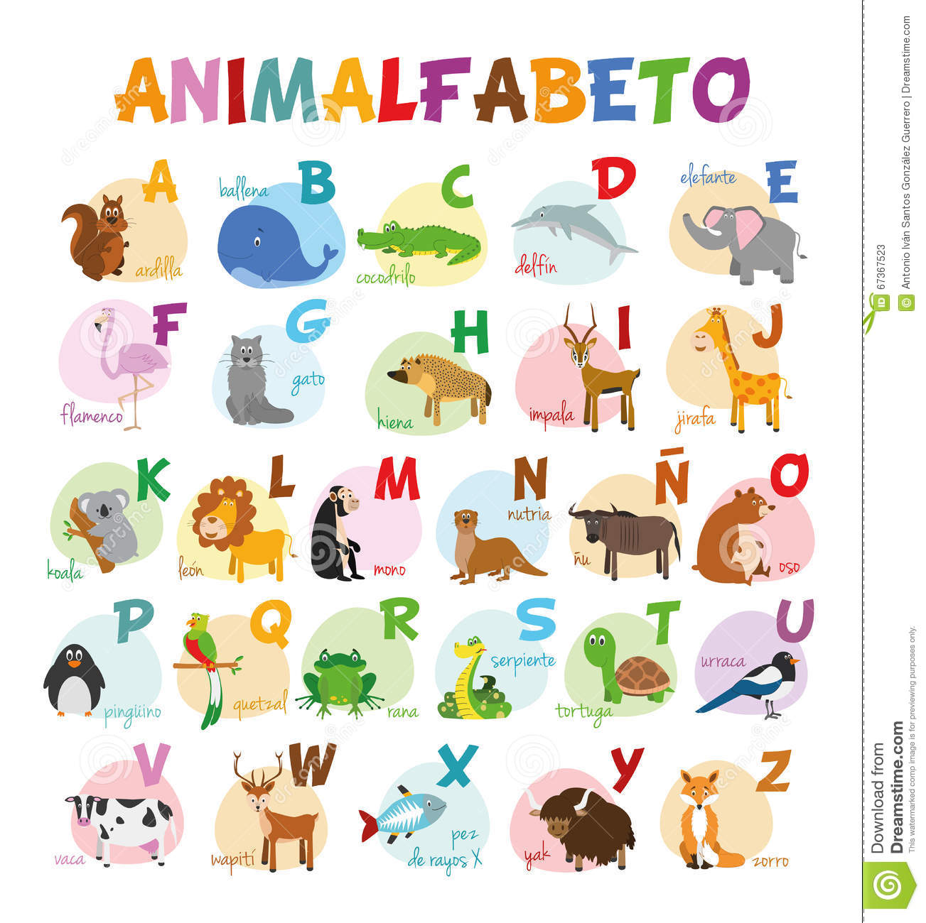 le zoo mignon de bande dessin e a illustr l 39 alphabet avec les animaux dr les alphabet espagnol. Black Bedroom Furniture Sets. Home Design Ideas