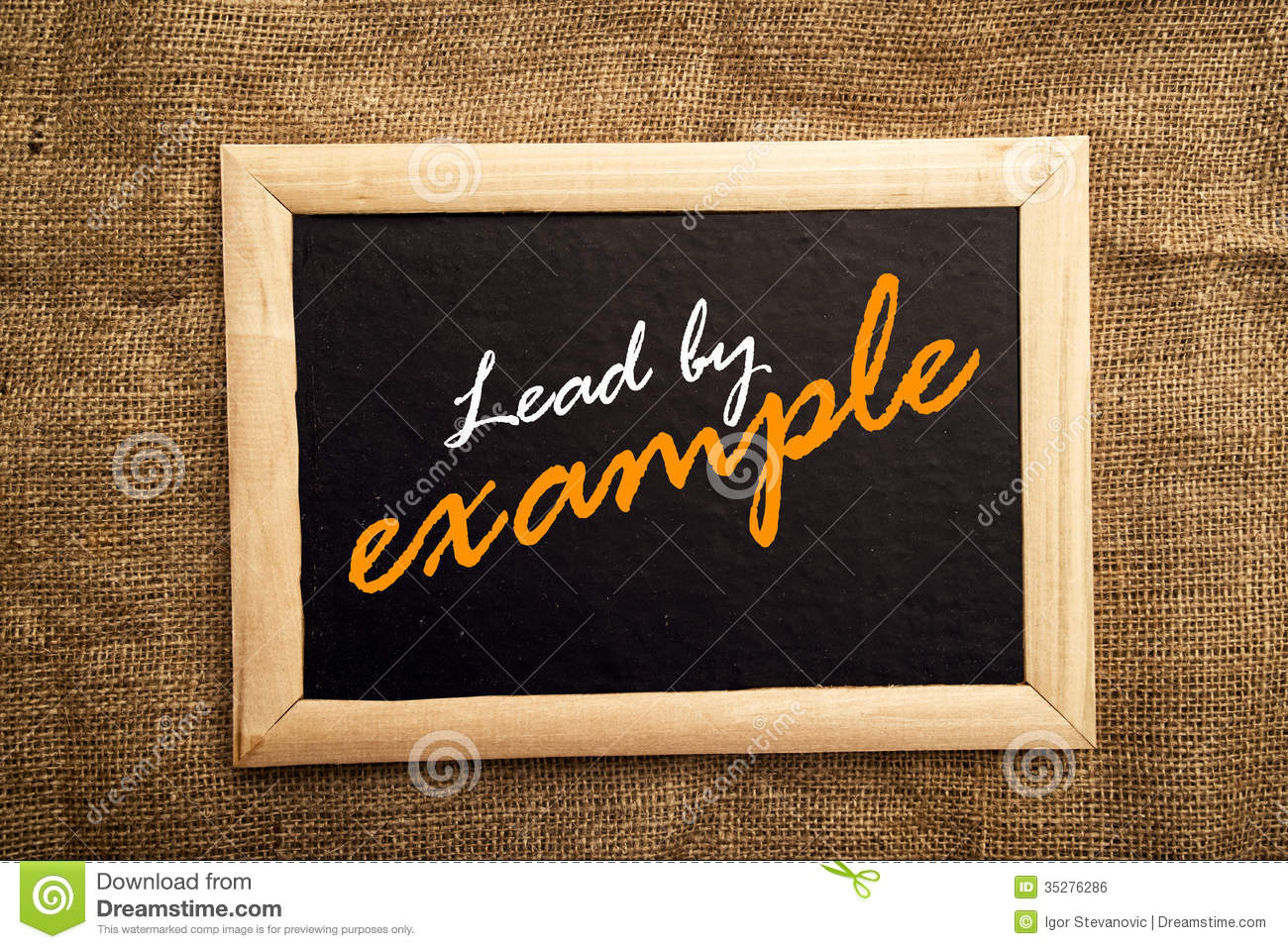 lead by example stock photo. image of chalkboard, writing - 35276286