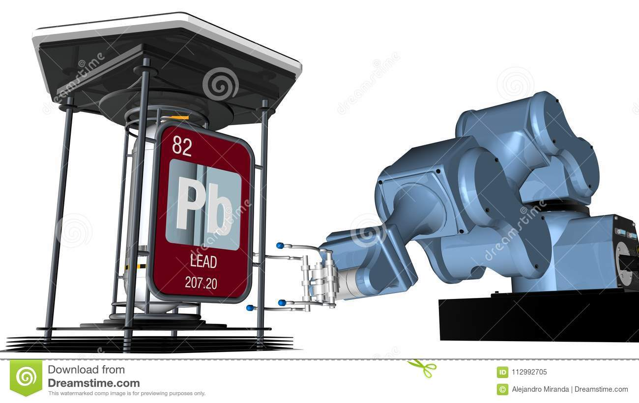 Lead symbol in square shape with metallic edge in front of a mechanical arm that will hold a chemical container. 3D render.