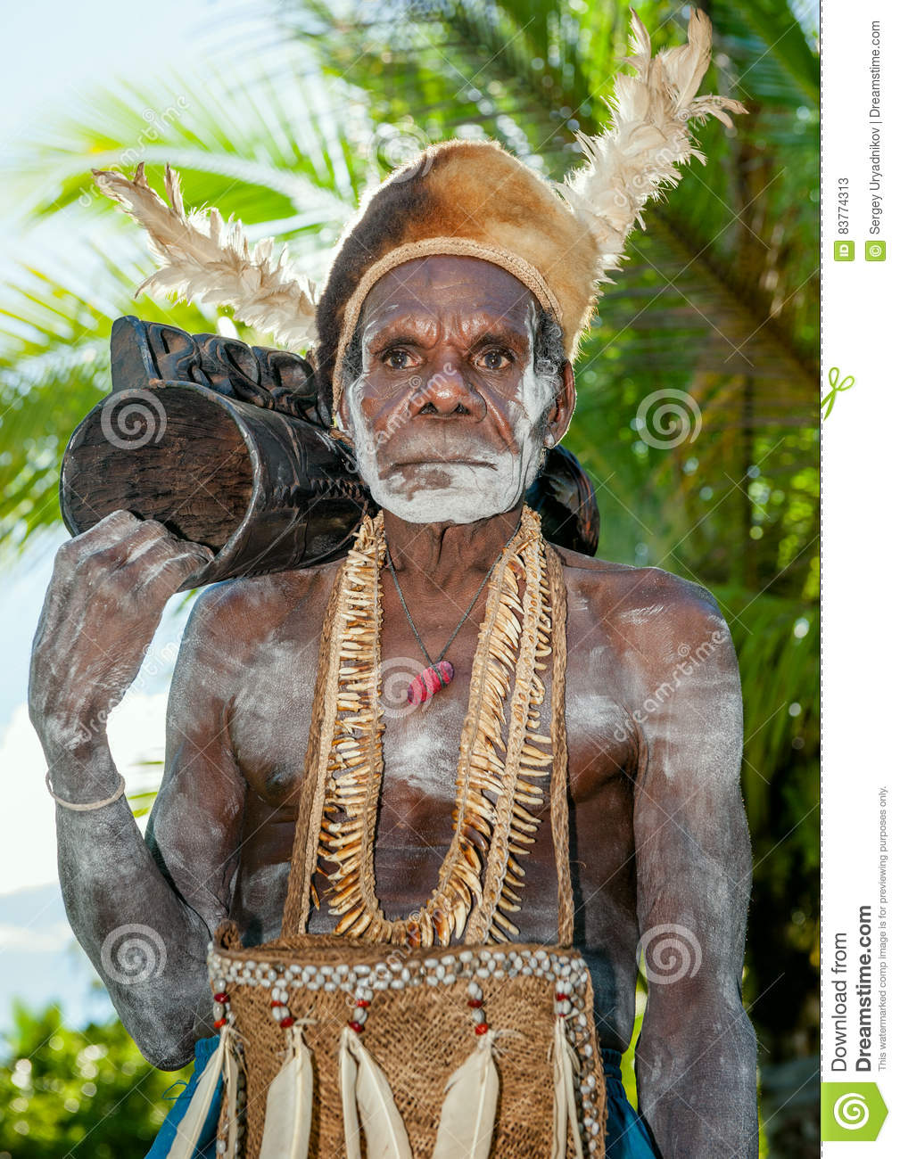 Leader of Asmat tribe with drum em