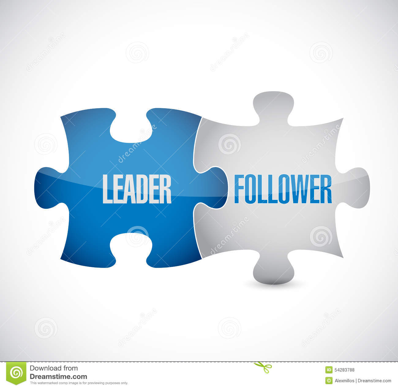 Leader and follower puzzle pieces sign illustration design over white.