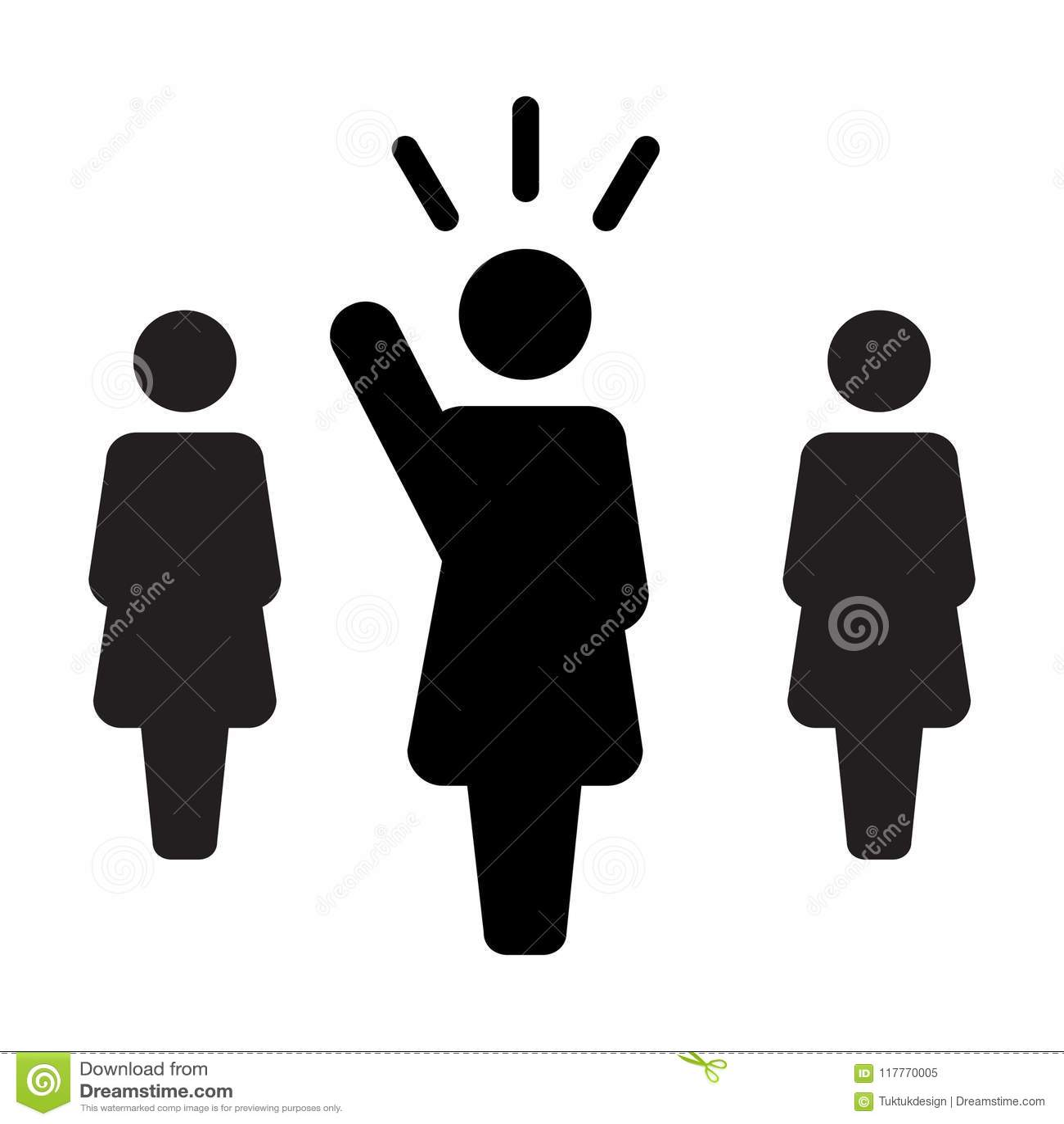 Leader Icon Vector Female Public Speaker Person Symbol For