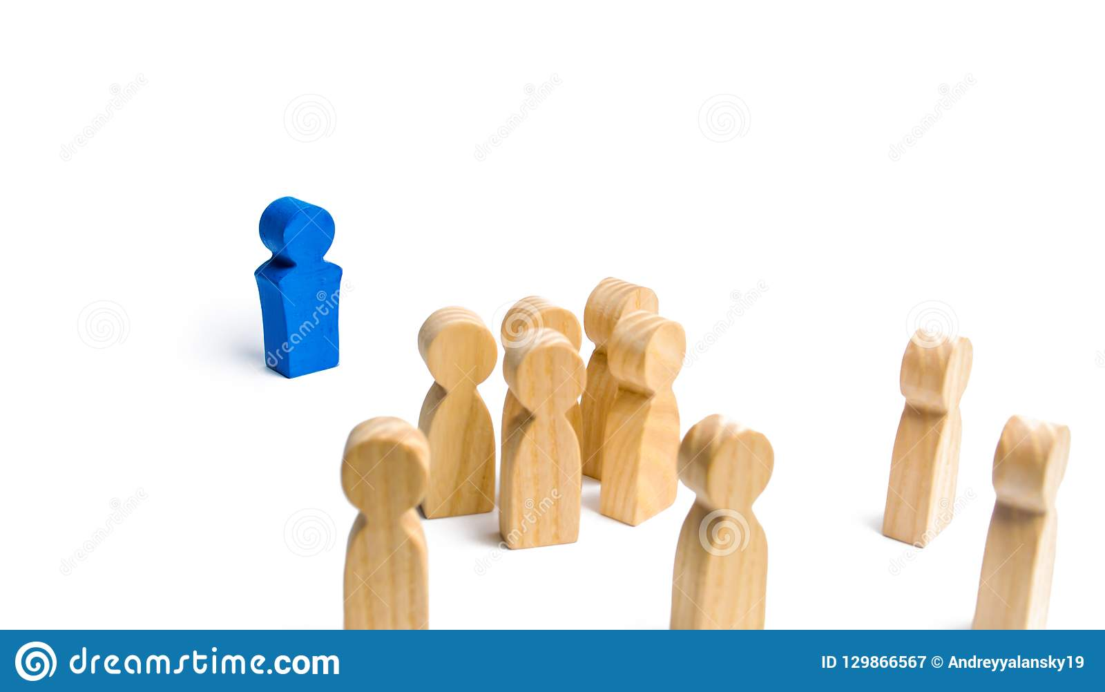 The leader speaks a speech addressing a crowd of people. Business concept of leader and leadership qualities, crowd management