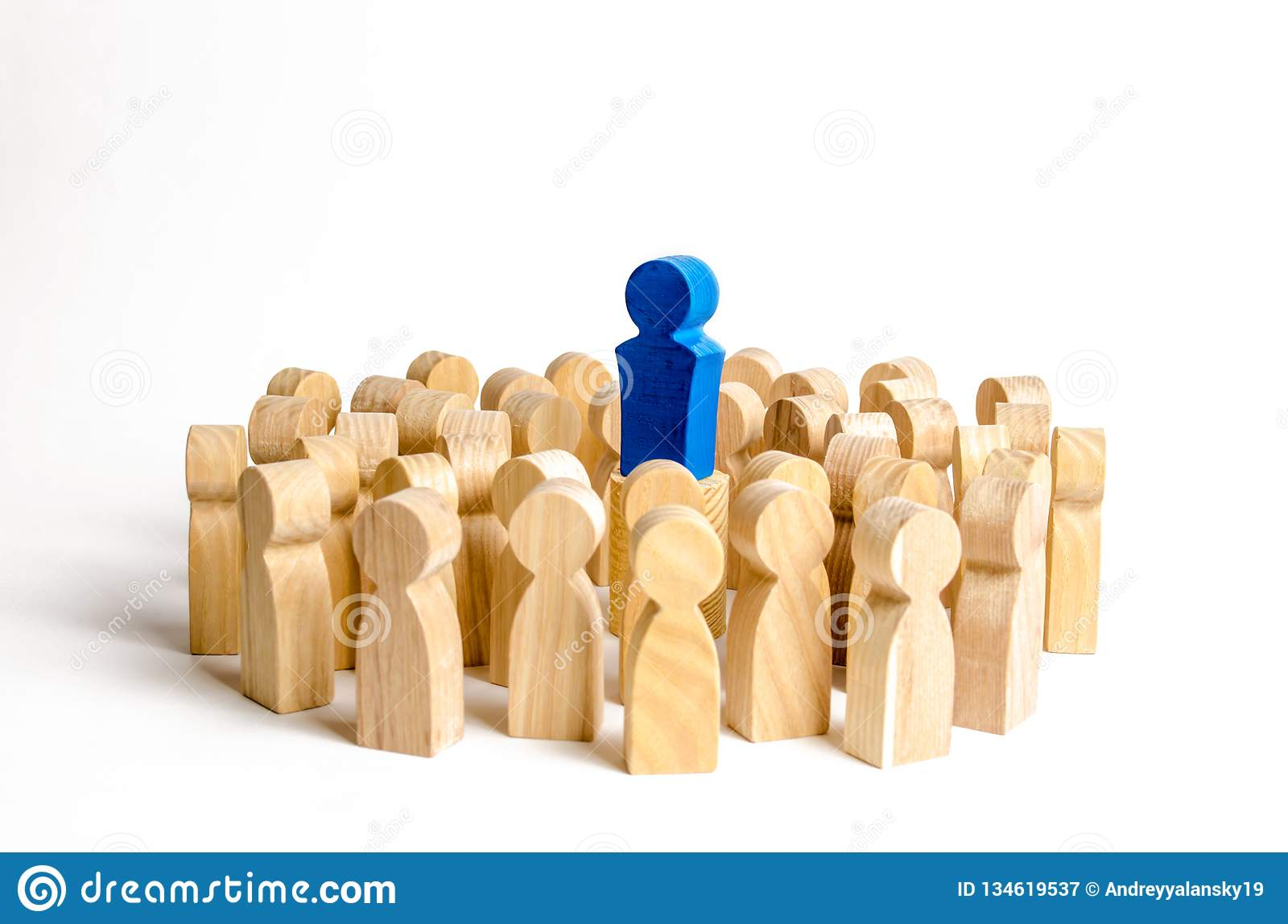 The leader stands at the head of the crowd. Business concept of leader and leadership qualities, Business concept of leader